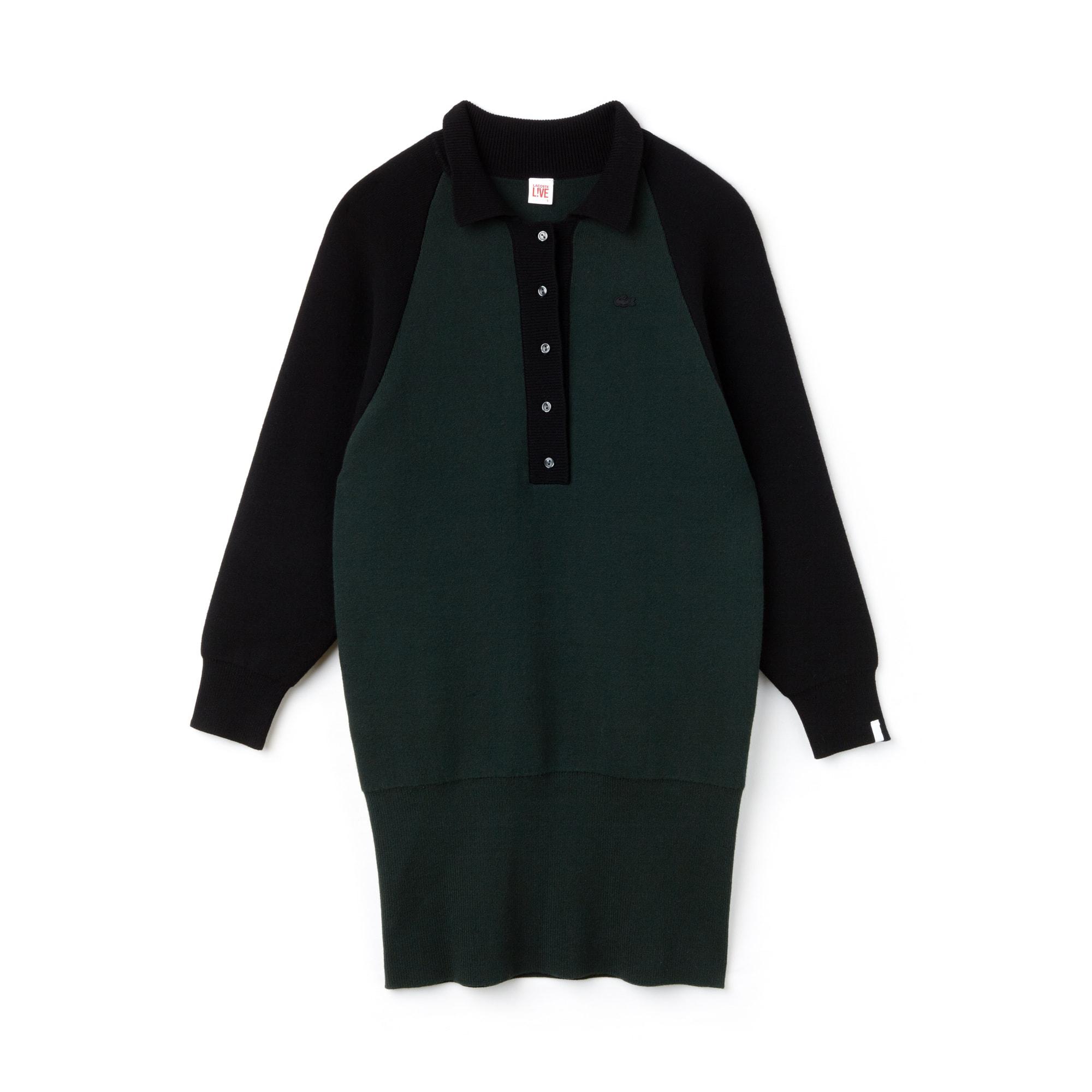 Lacoste LIVE系列双层色块拼接平纹针织面料女士运动衫式连身裙