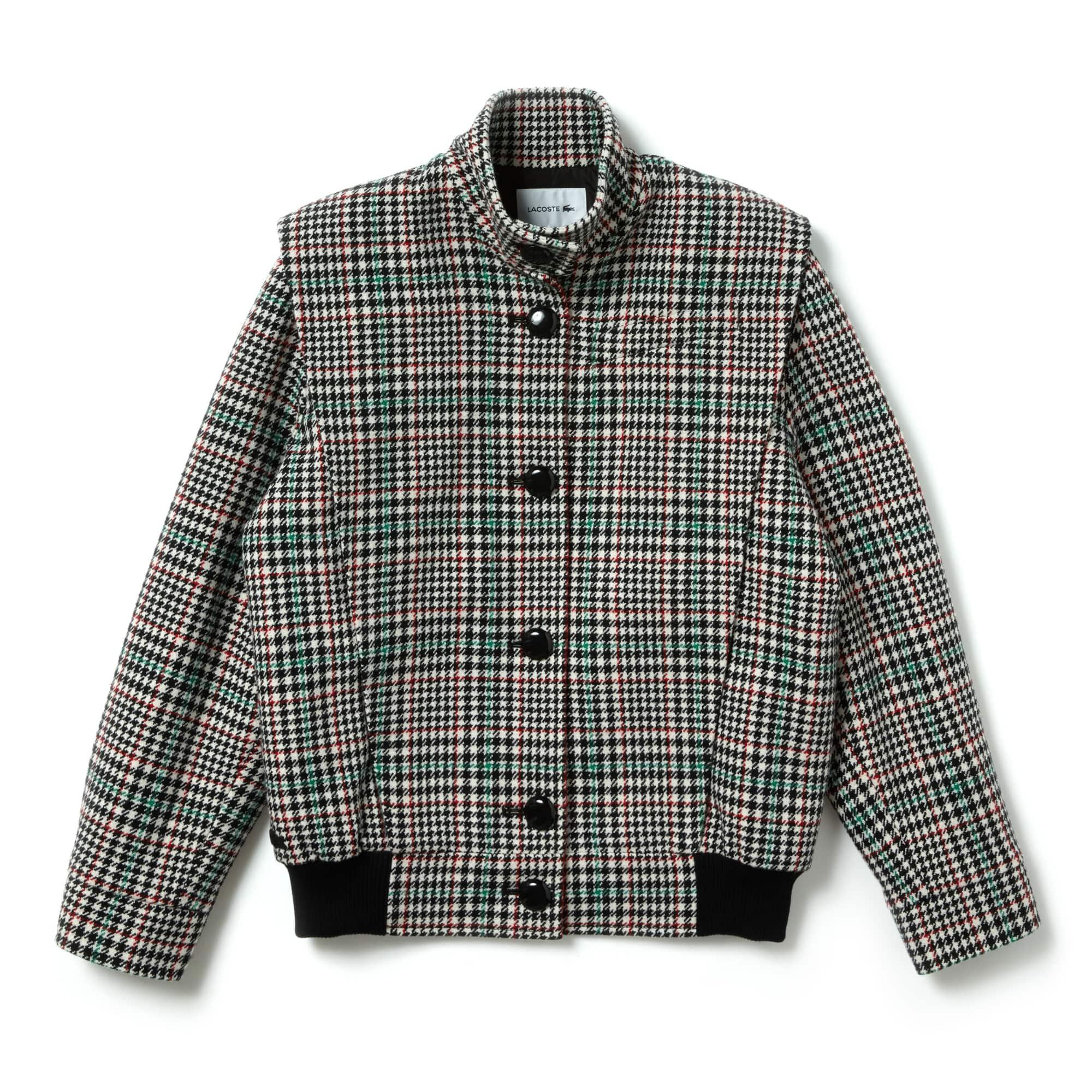 [패션쇼] 여성 격자 무늬 울 혼합 단추 자켓