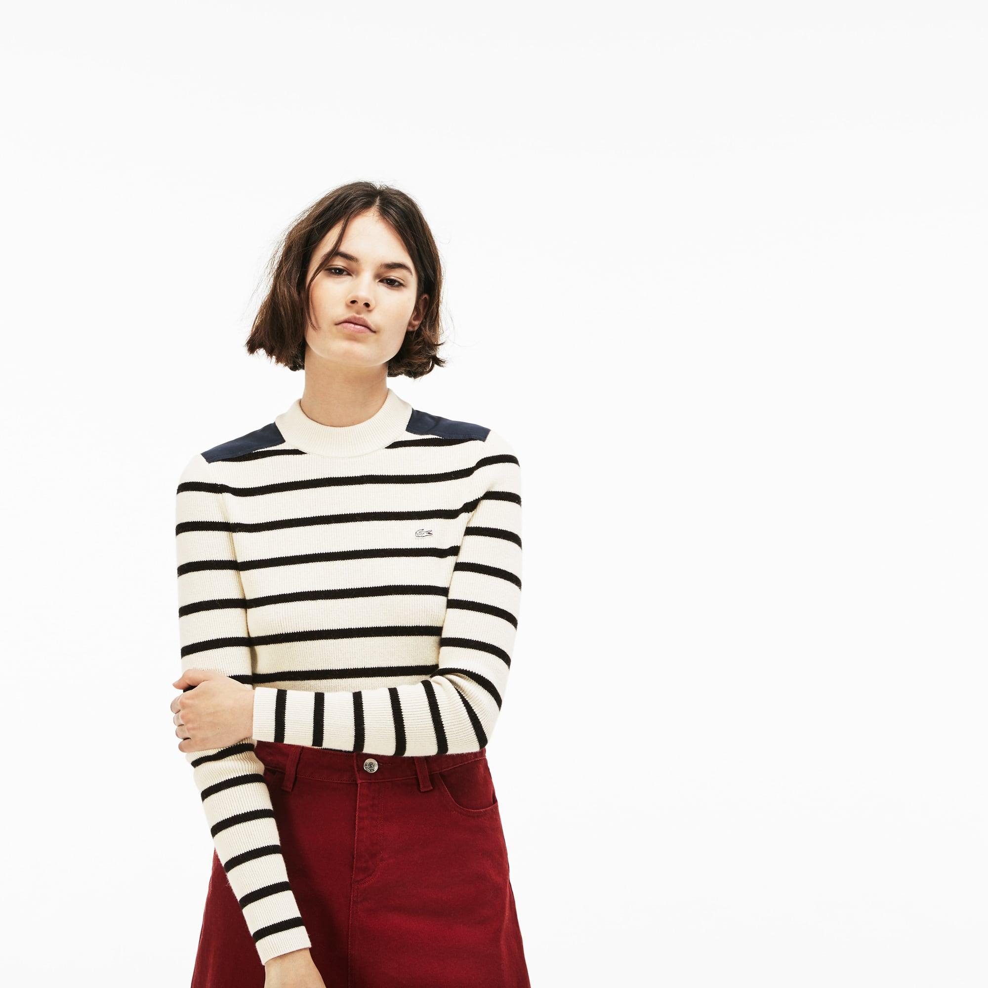 (여성) 라코스테 라이브 크루넥 스트라이프 스웨터