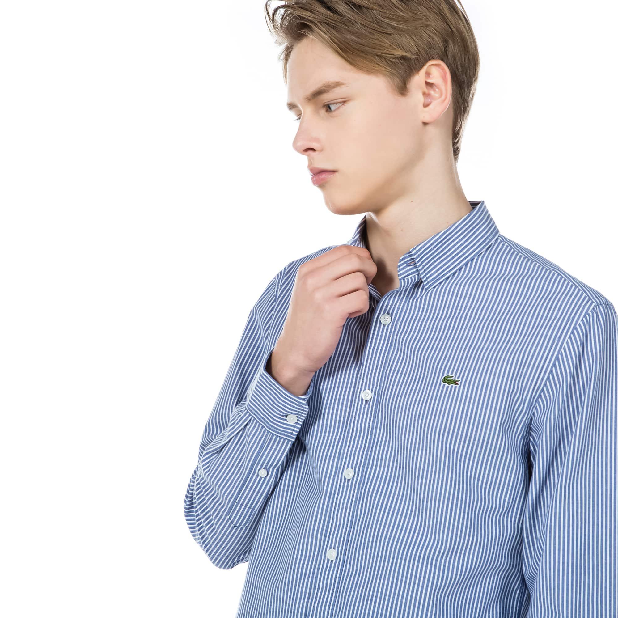 (남성) 라코스테 플라넬 세로 스트라이프 슬림 셔츠