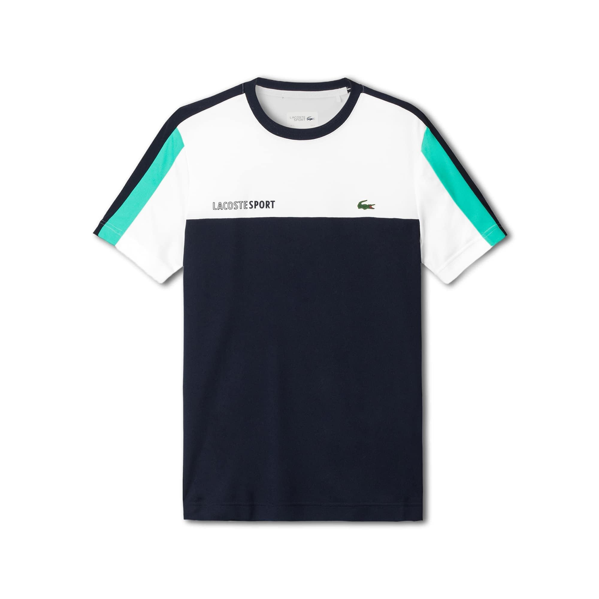 Lacoste SPORT男士圆领拼色凸纹网眼面料网球T恤