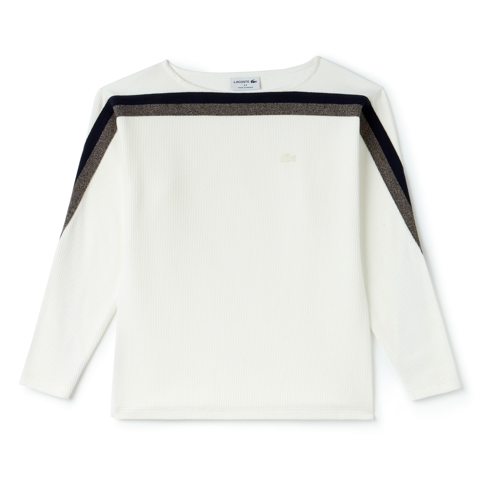 法国制造女士船形领撞色棉质运动衫