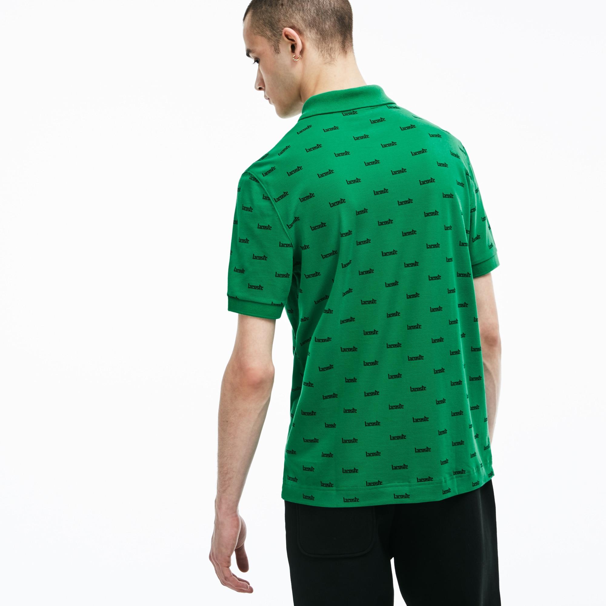 Lacoste LIVE男士修身版印花棉质迷你凸纹网眼面料Polo衫