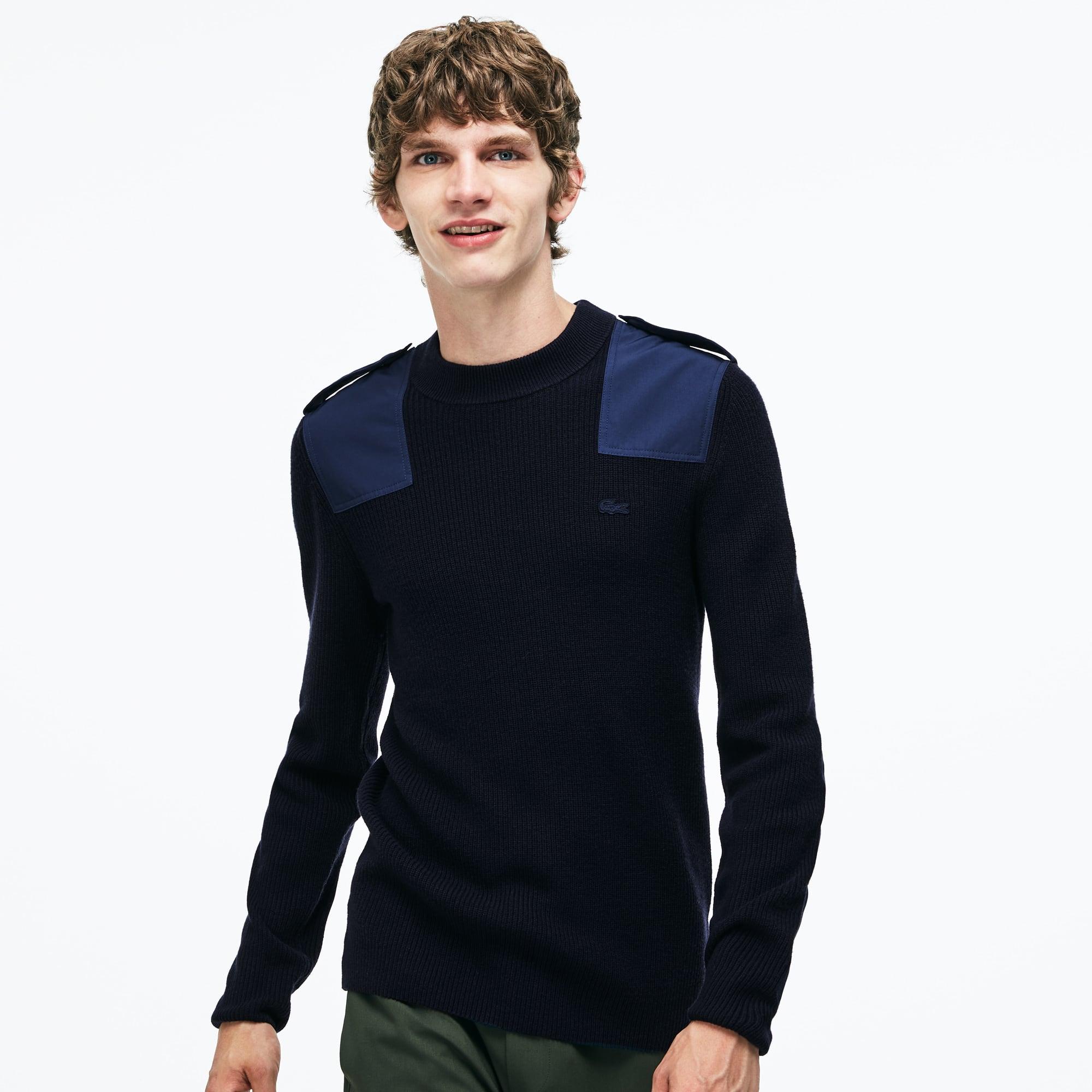羊毛和棉混纺罗纹圆领色块拼接男士毛衣