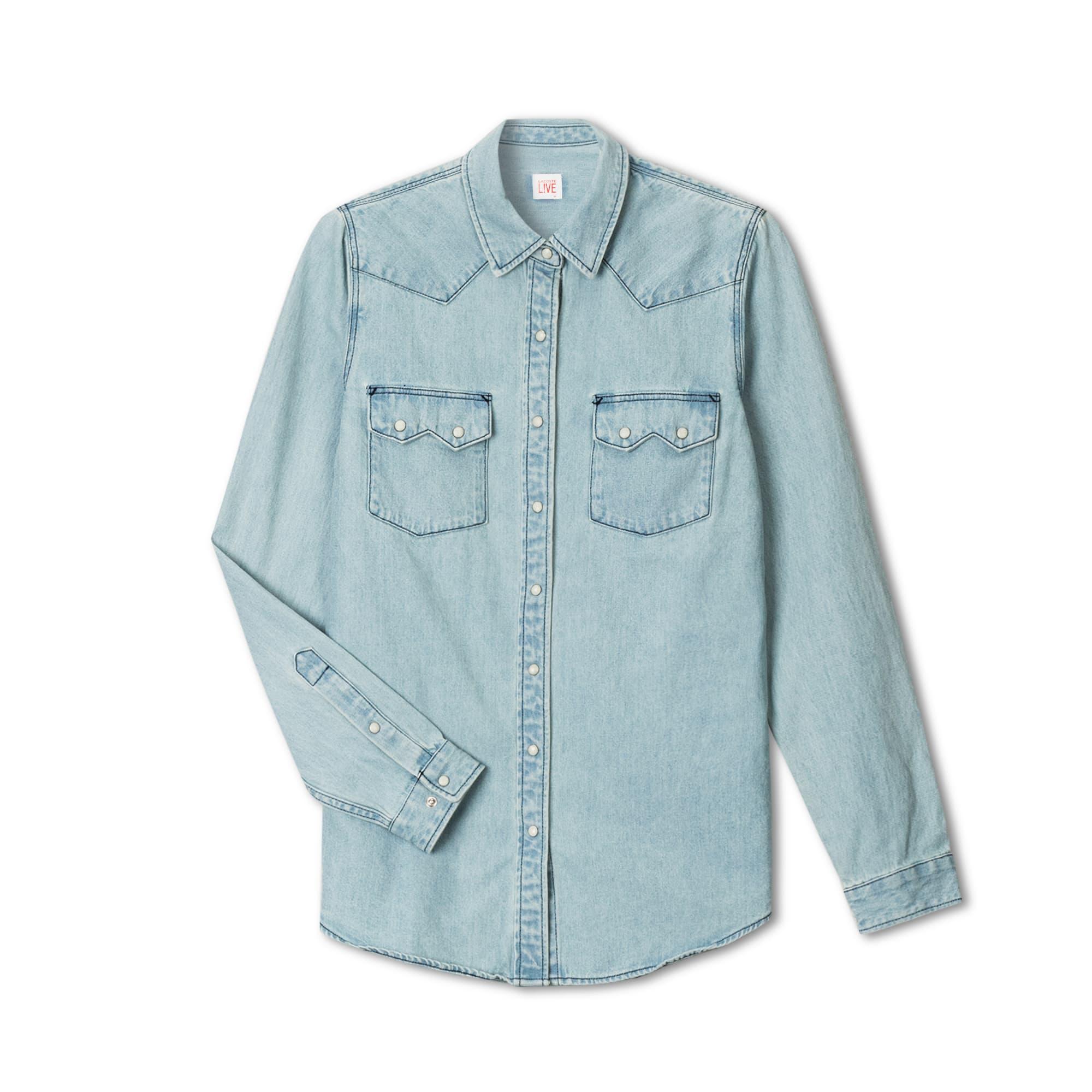 Lacoste LIVE系列女士修身版西式口袋牛仔衬衫