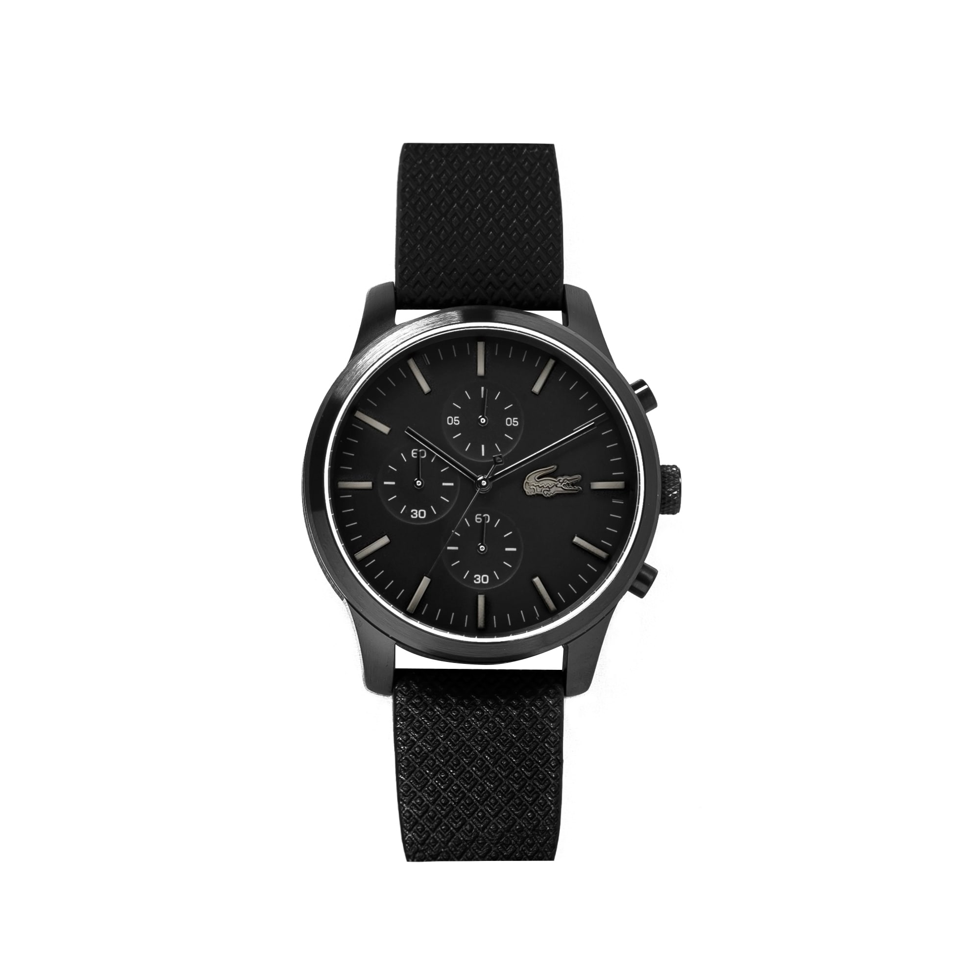 (남성) 85주년 한정판 라코스테 12.12 블랙 엠보싱 가죽 스트랩 크로노그래프 시계