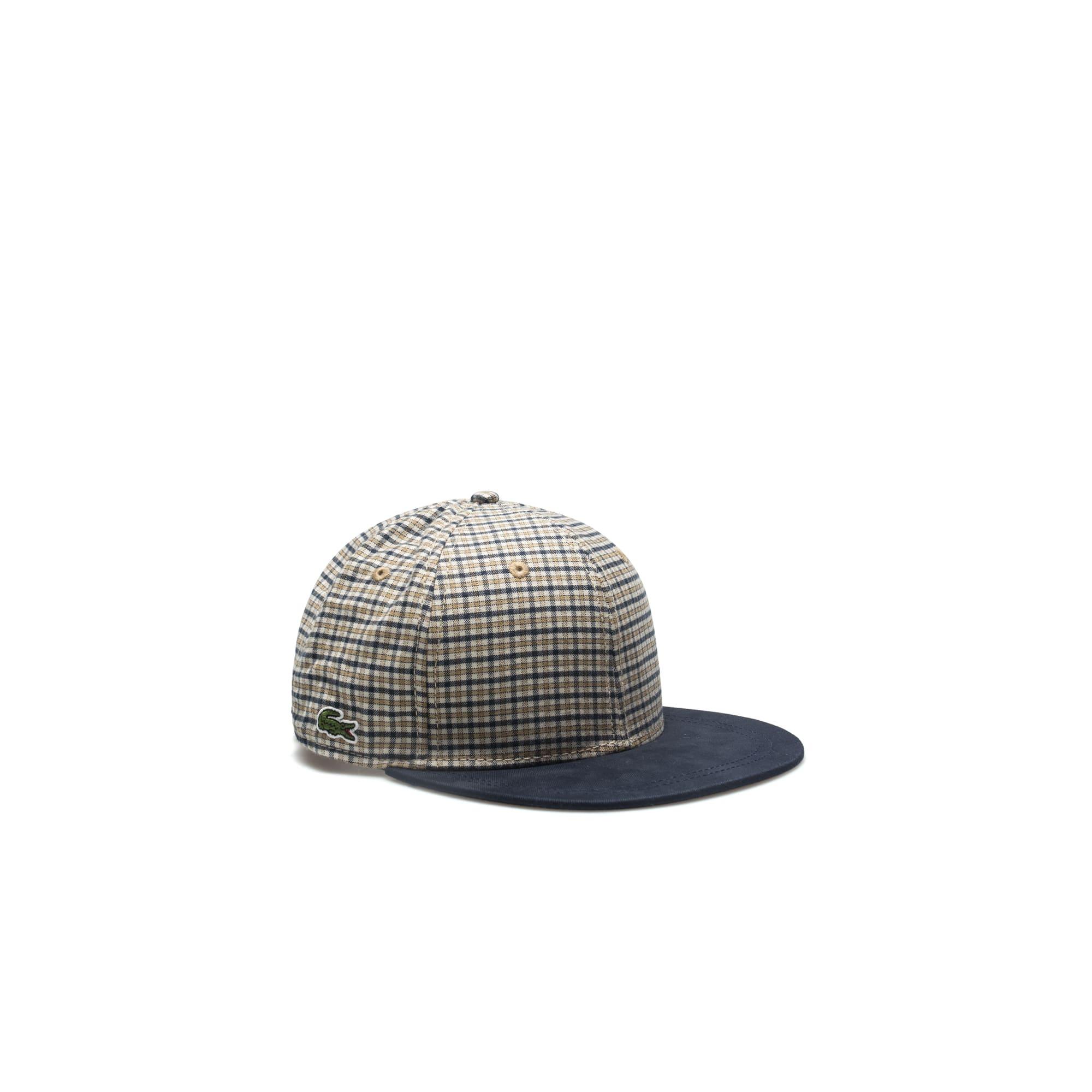 Lacoste LIVE撞色遮阳格纹法兰绒帽