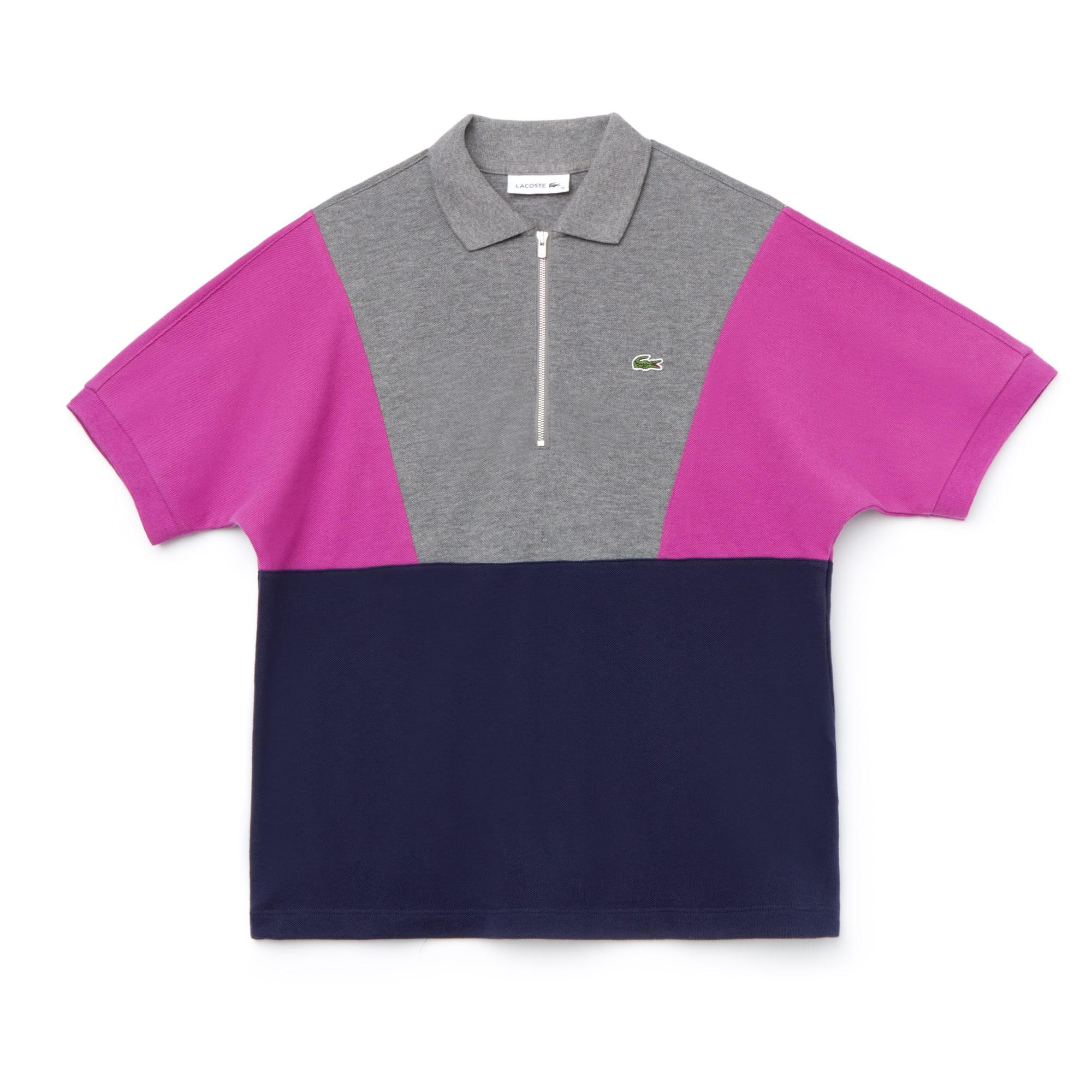 Lacoste女士拉链领拼色毛圈布凸纹网眼面料Polo衫
