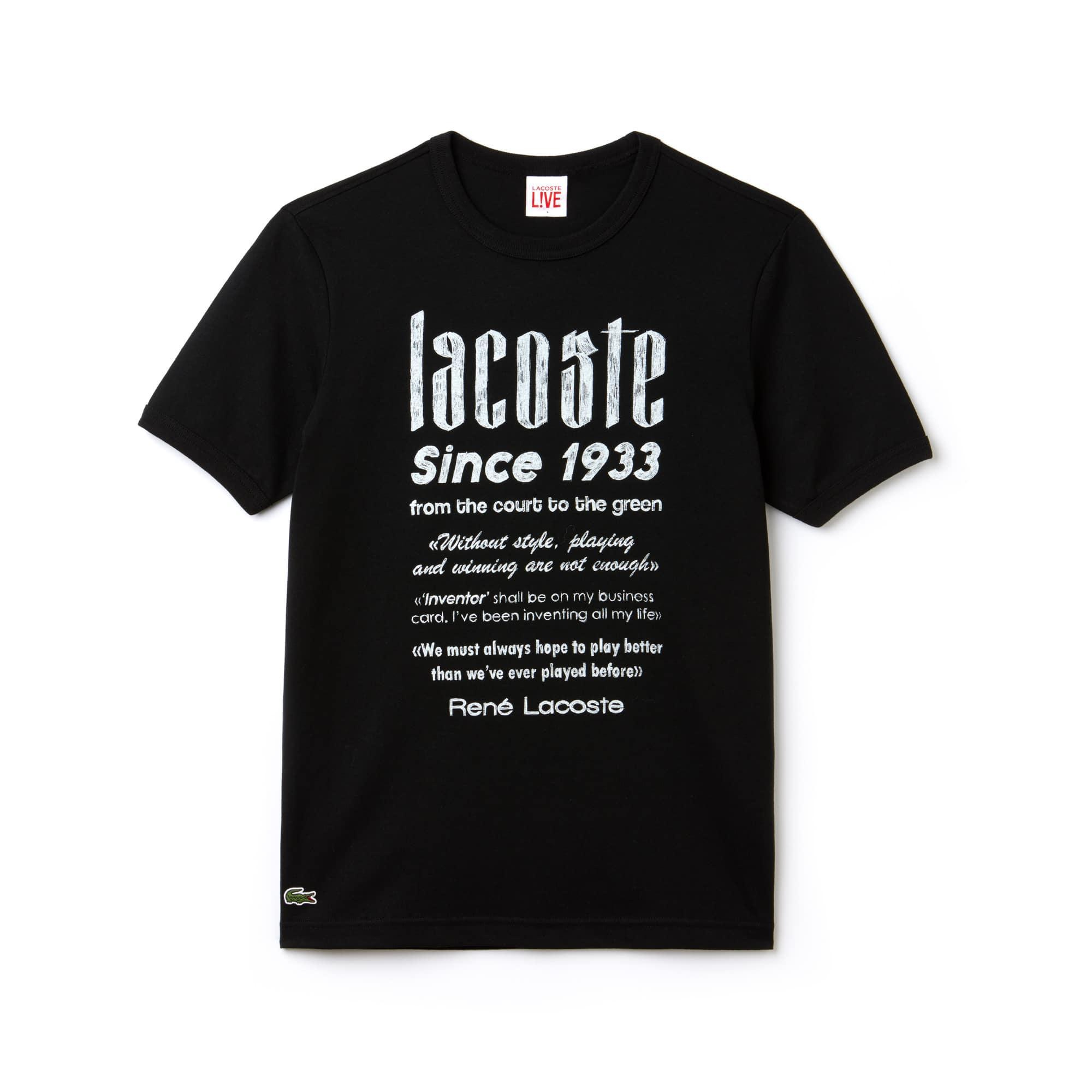 Lacoste LIVE男士圆领设计印花棉质T恤