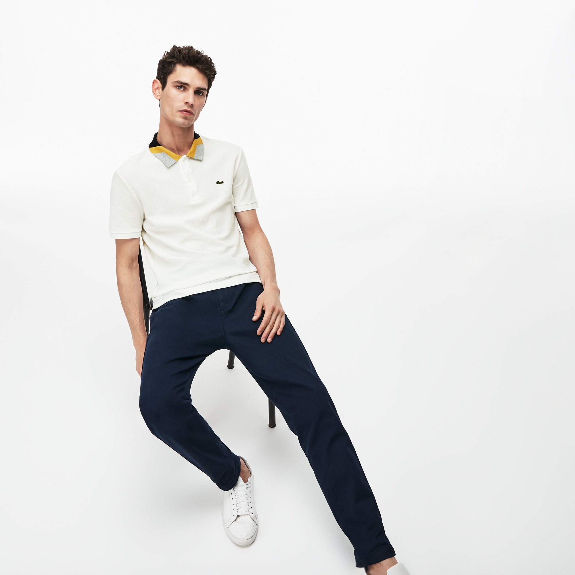 Lacoste男士修身版拼色条纹结子凸纹网眼面料Polo衫