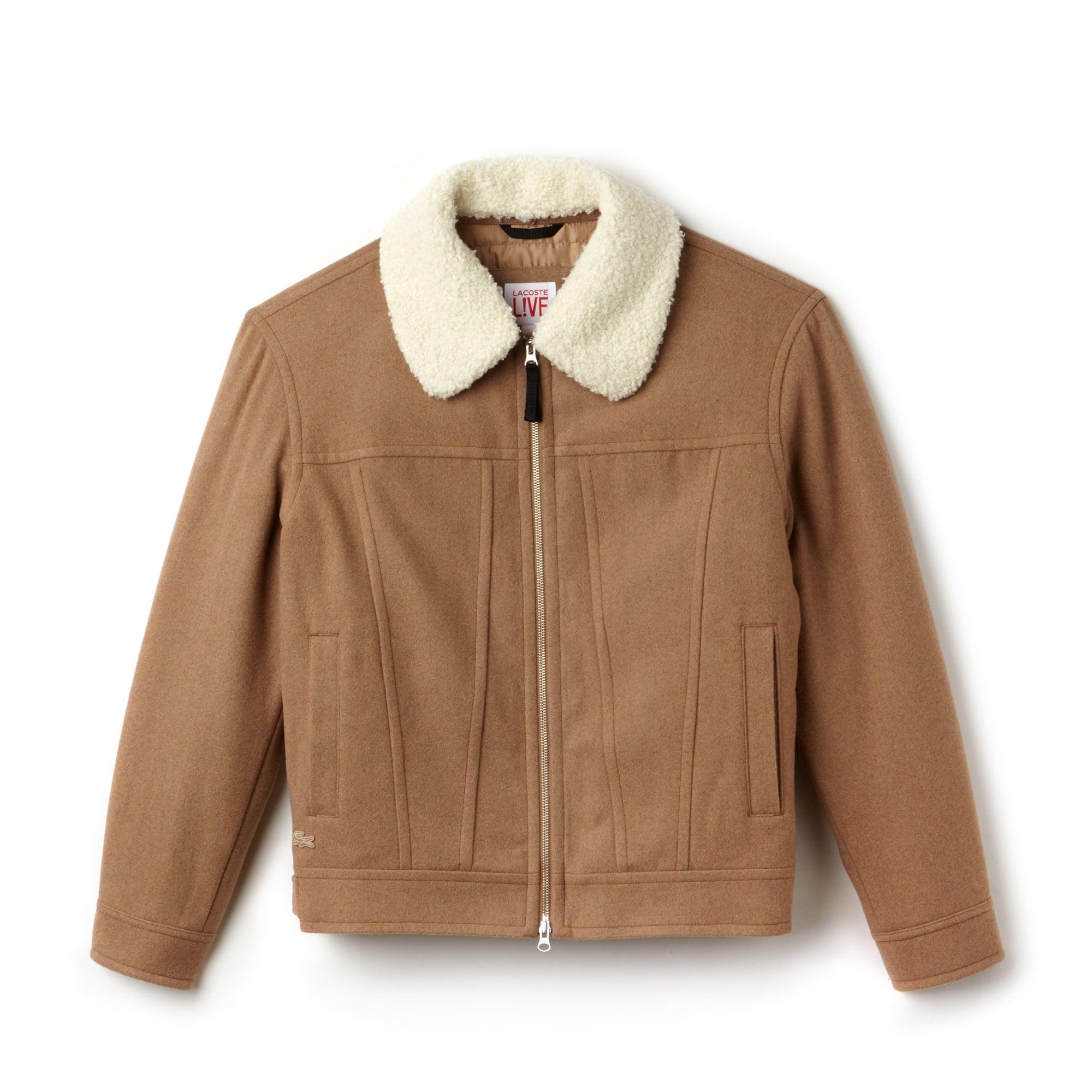 Lacoste LIVE中性款可拆卸衣领羊毛宽幅面料拉链夹克