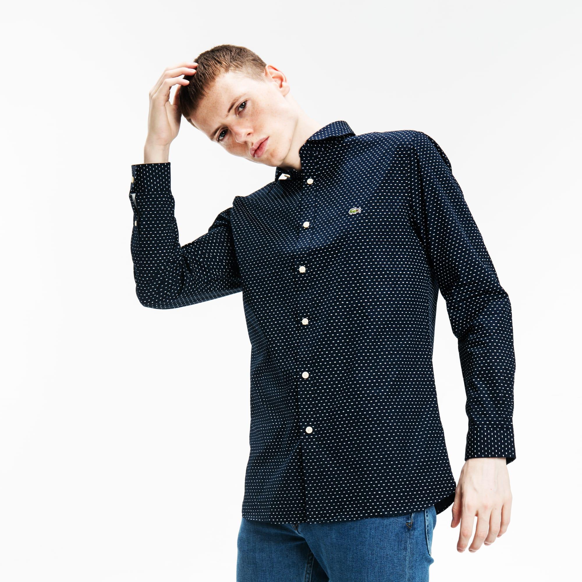 男士简约波点长袖衬衫