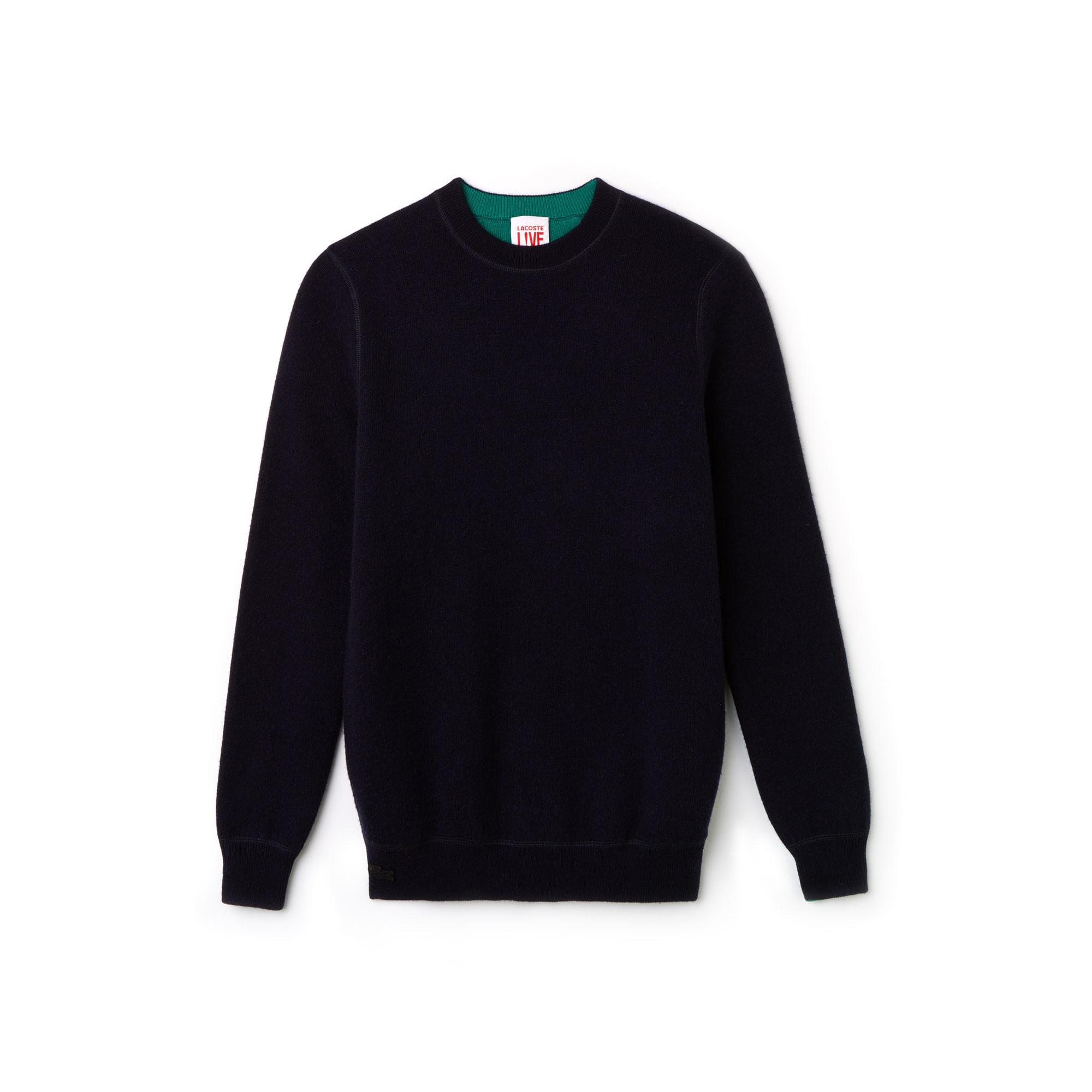 Lacoste LIVE中性版双面羊毛平纹单面针织毛衣
