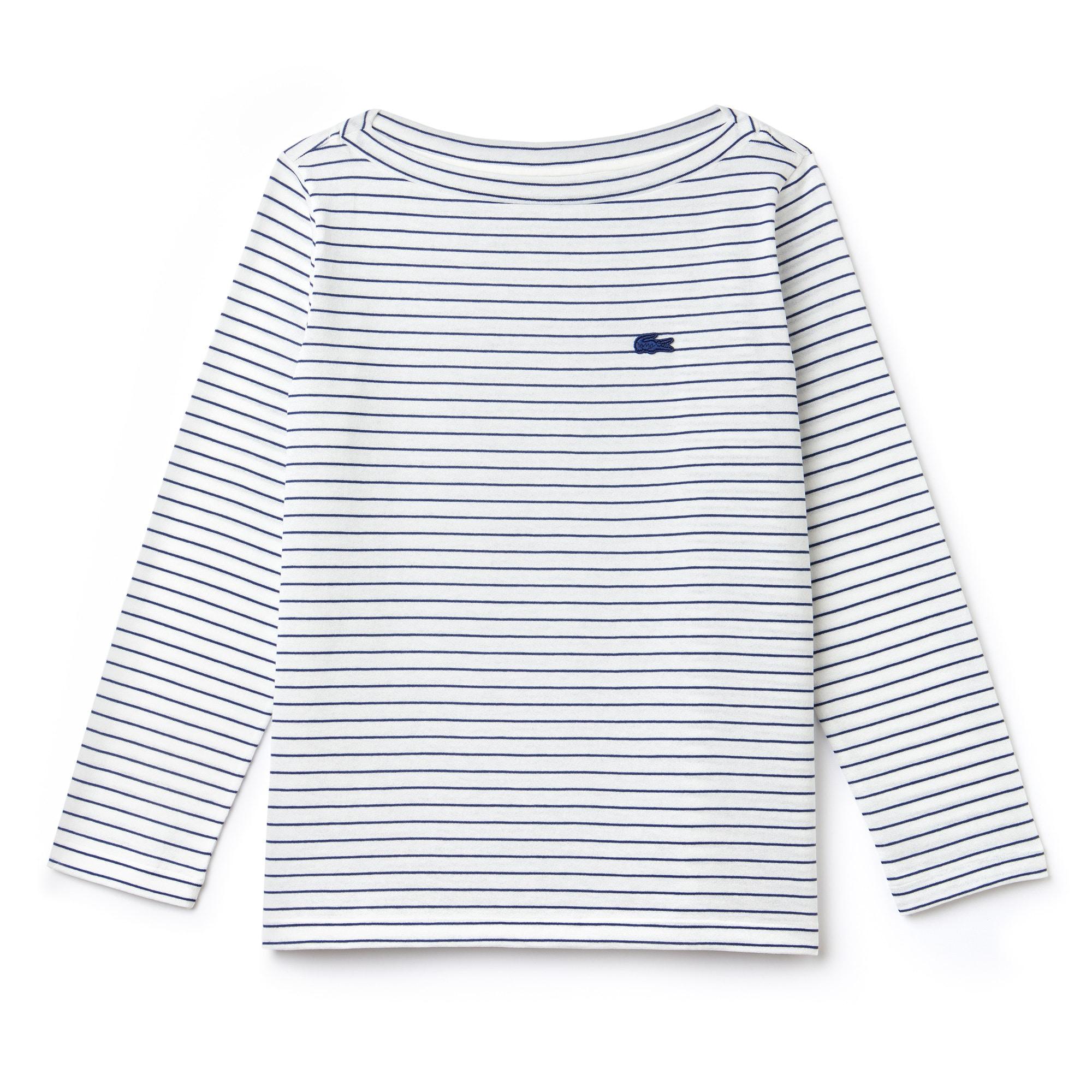 女士船形领条纹棉质平纹针织面料海军衬衫