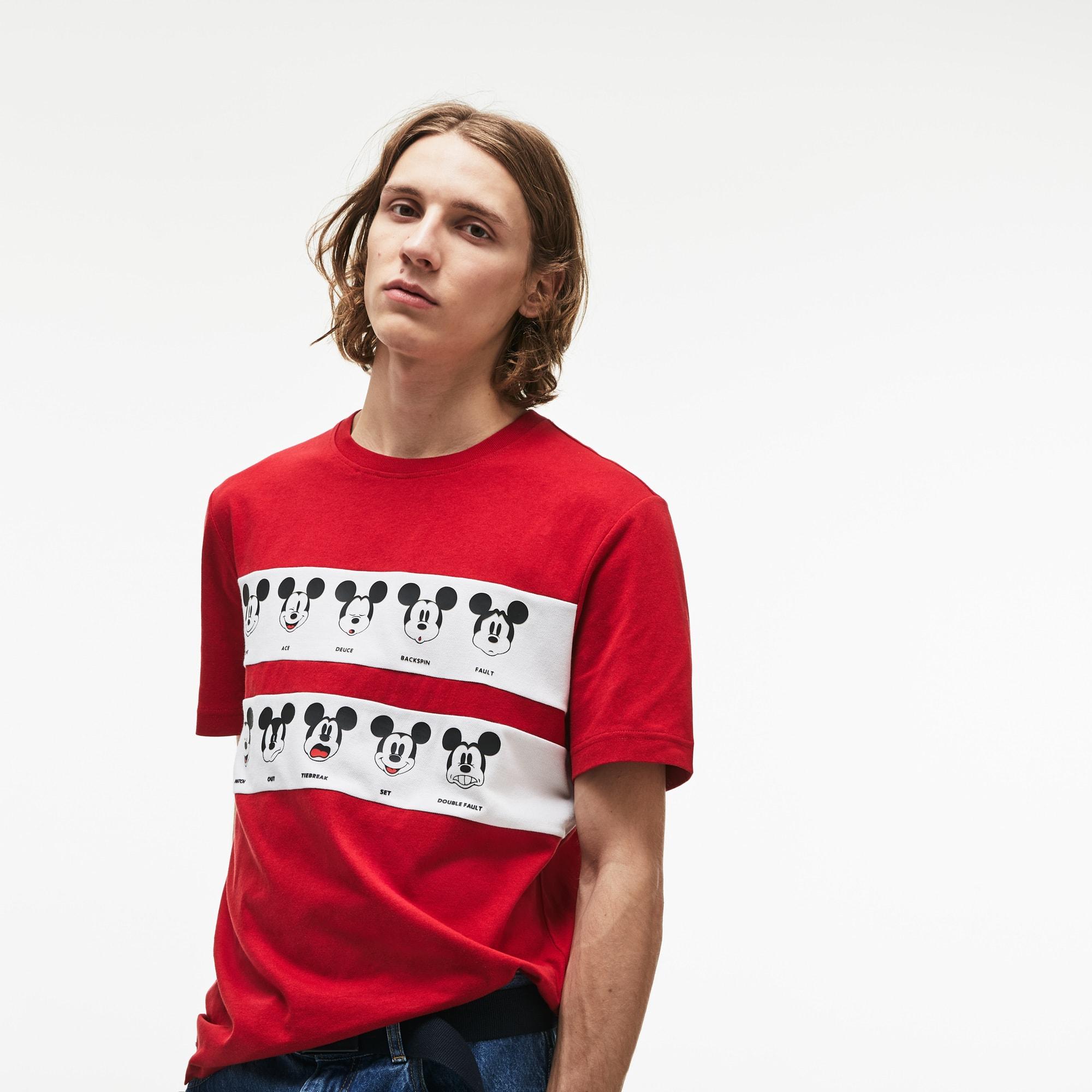 迪士尼米奇图案棉质平纹针织面料男士T恤