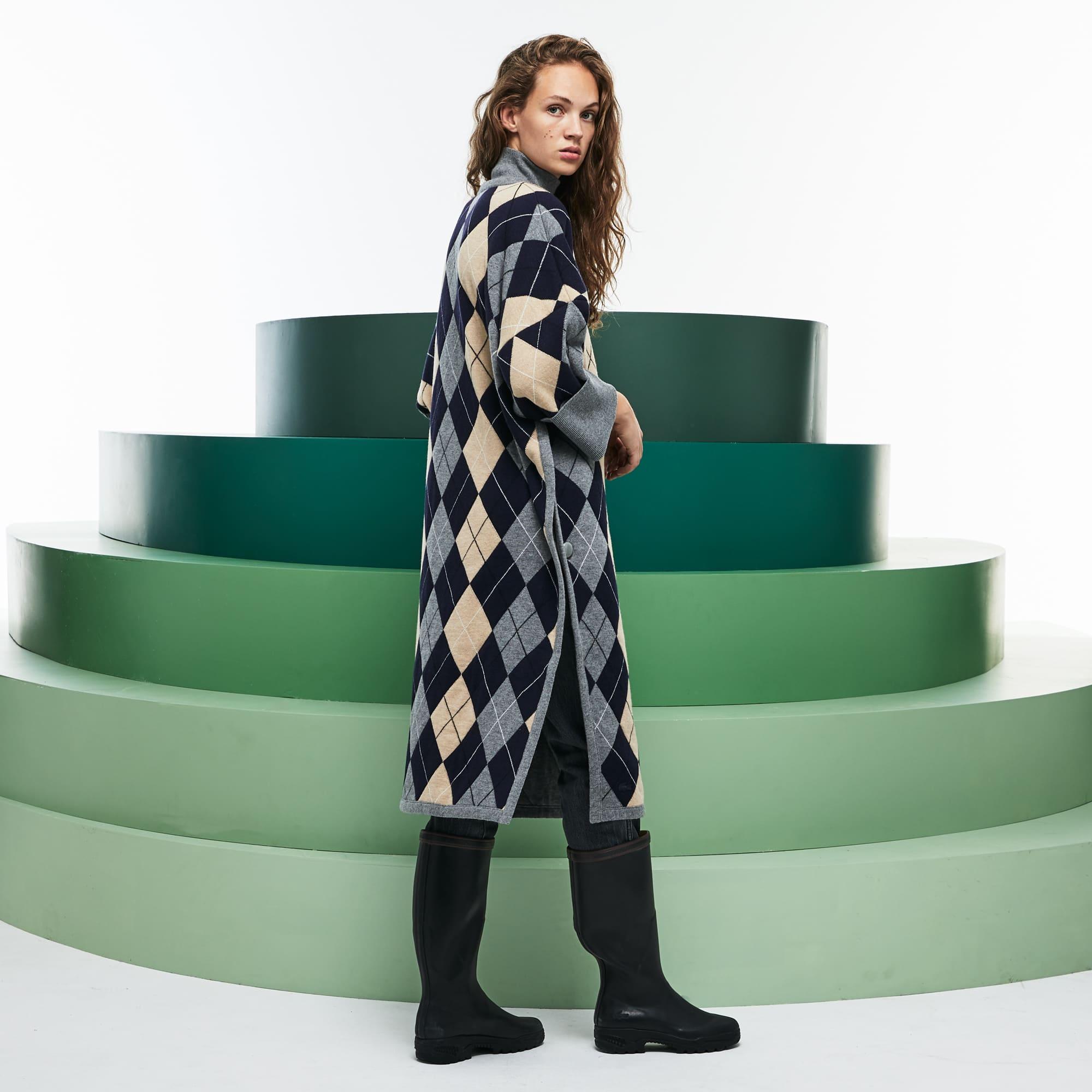 女士走秀款菱形羊毛提花斗篷连衣裙