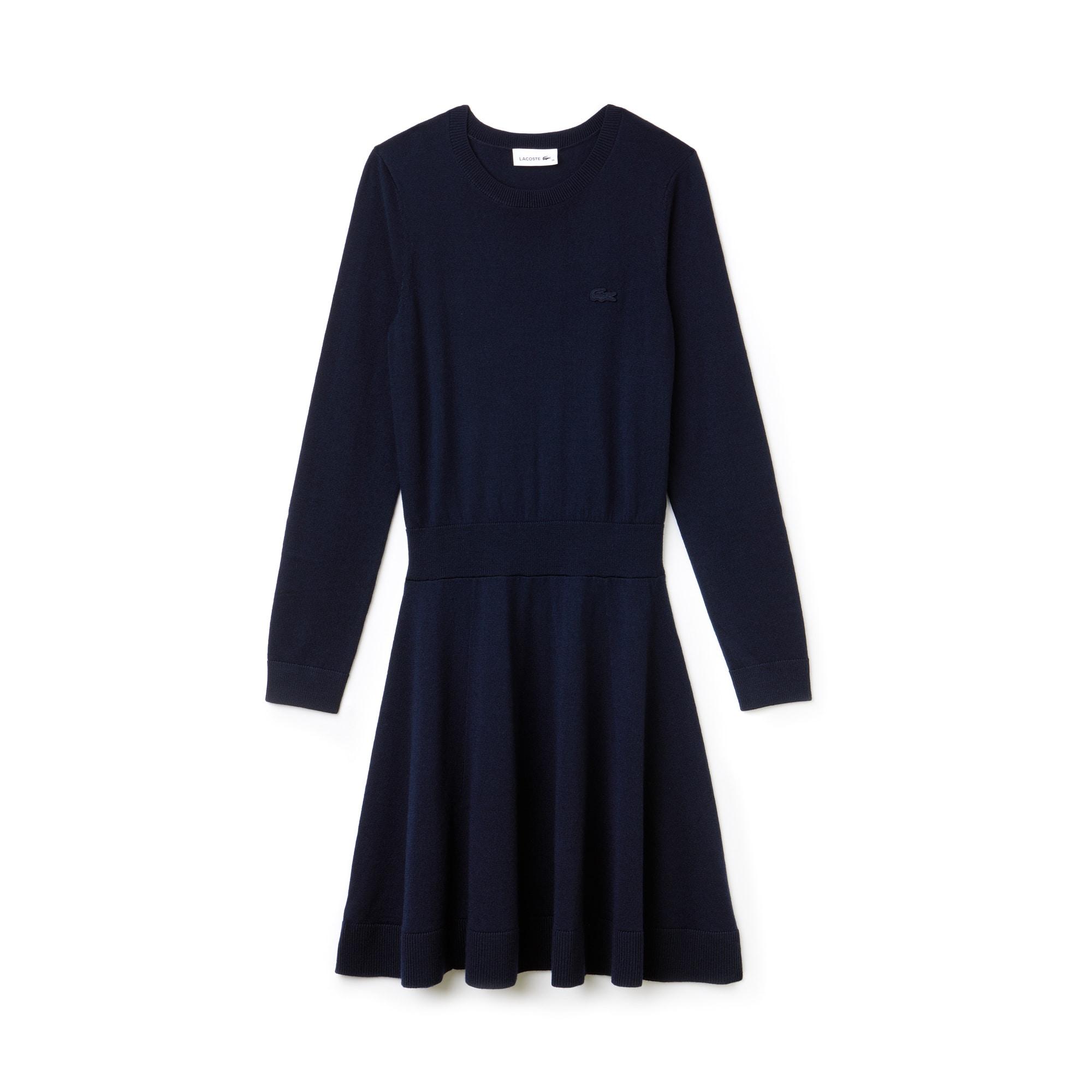 女士合身羊毛平纹单面针织毛衣连衣裙