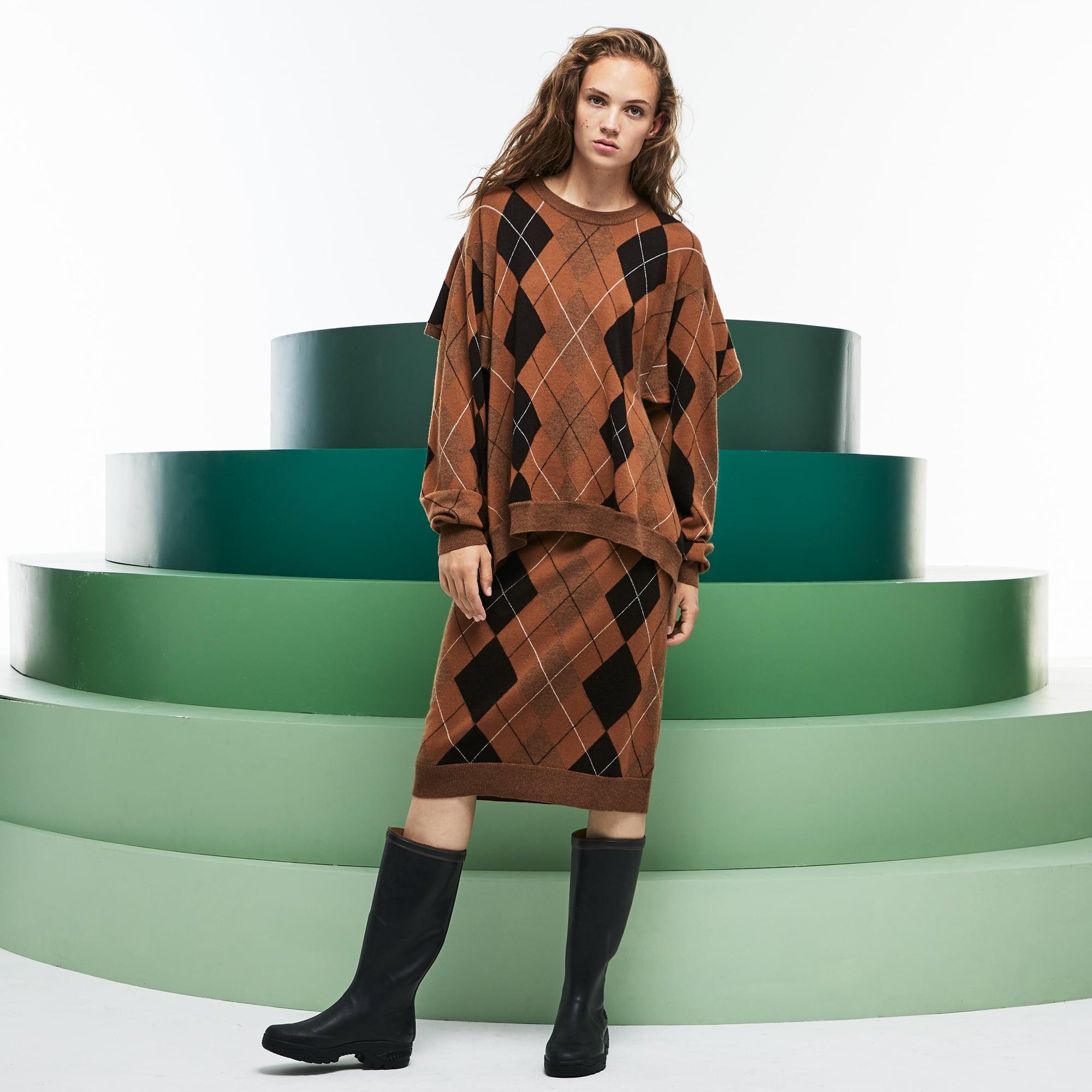 女士走秀款Argyle羊毛提花不对称裙