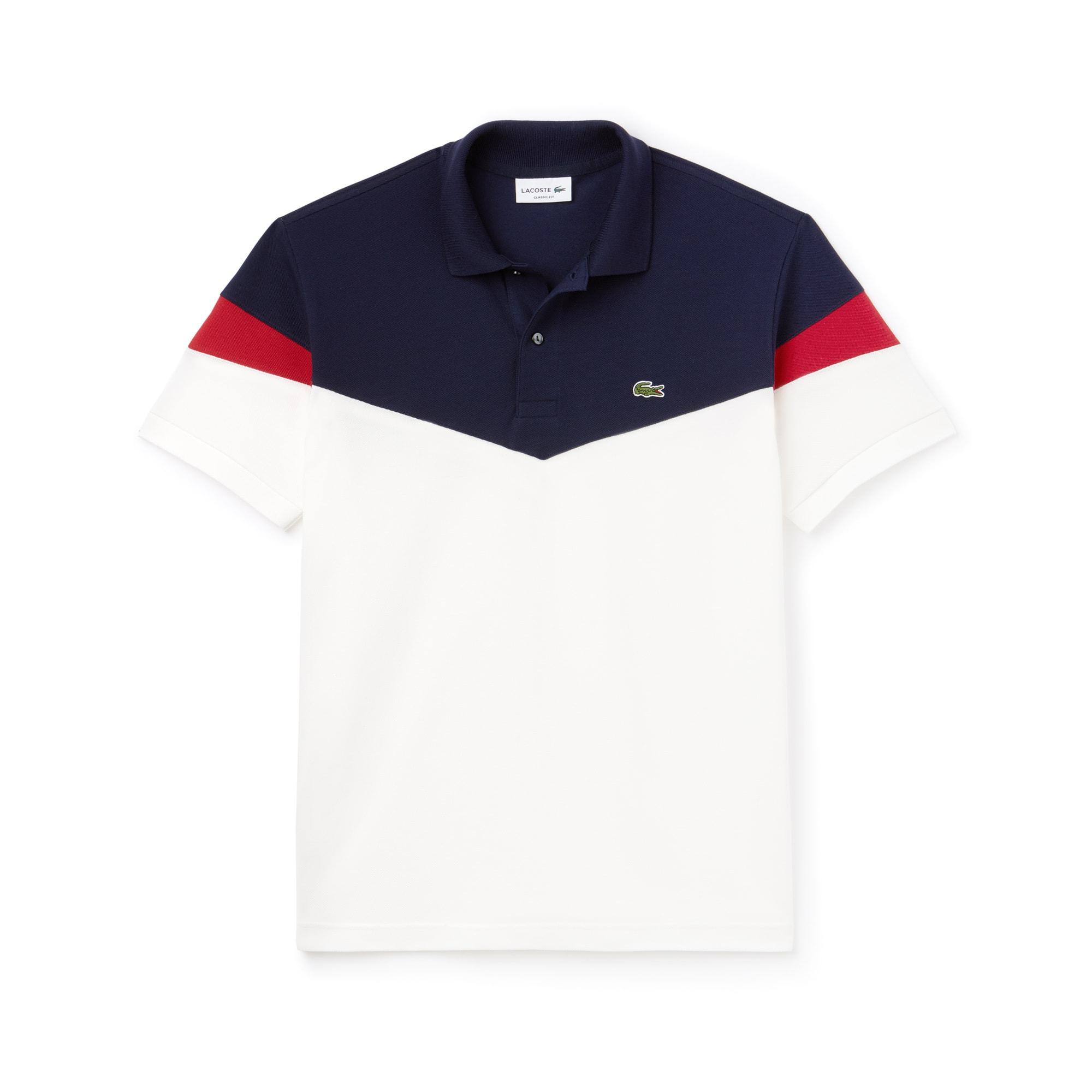 Lacoste经典版色块拼接棉质小凸纹网眼面料男士Polo衫