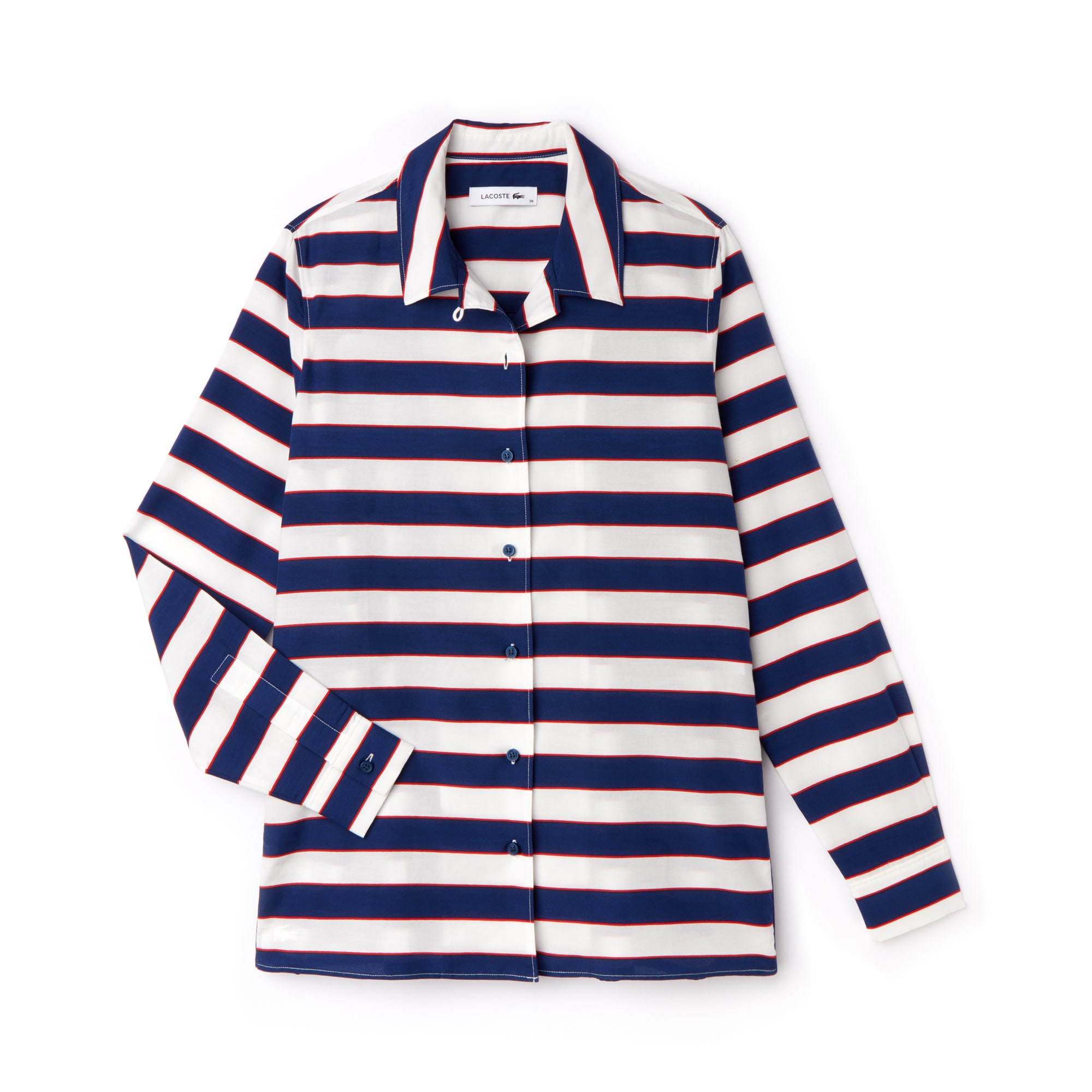 女士常规版条纹棉质真丝衬衫