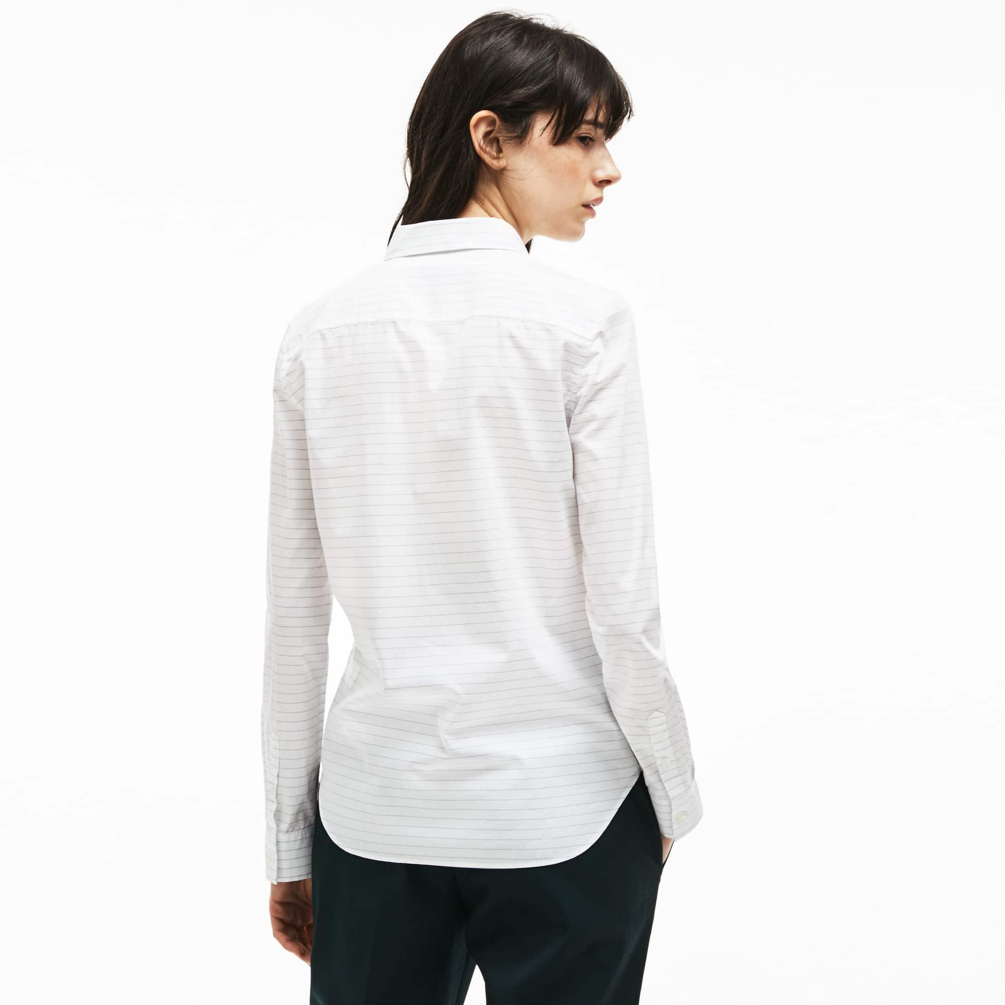 女士常规版条纹棉府绸衬衫