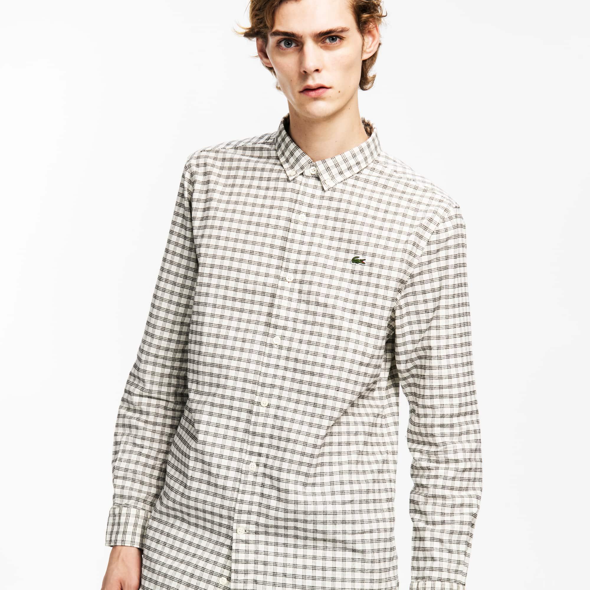 Lacoste L!VE系列男士长袖格纹衬衫