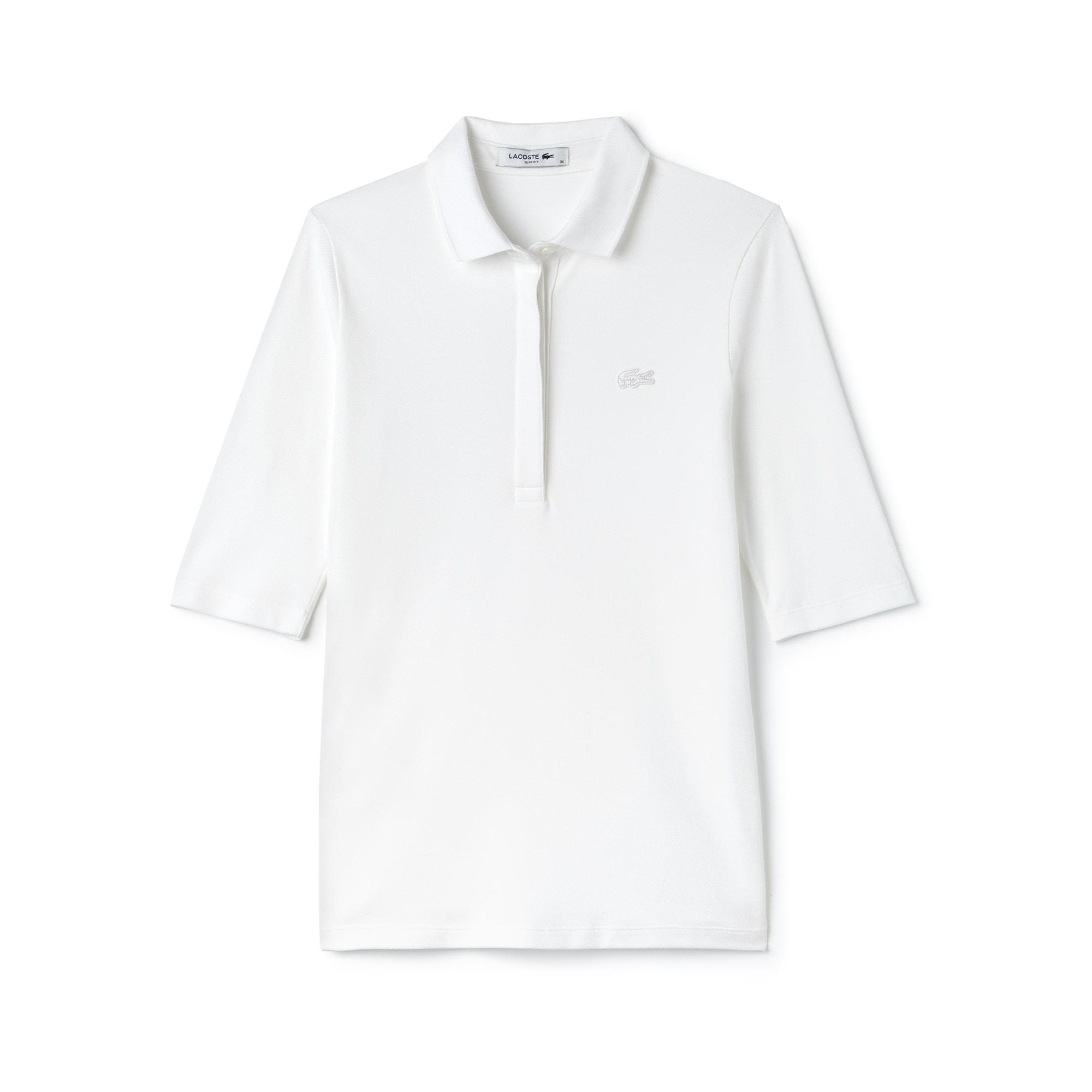 Lacoste女士修身版弹力迷你凸纹网眼面料Polo衬衫
