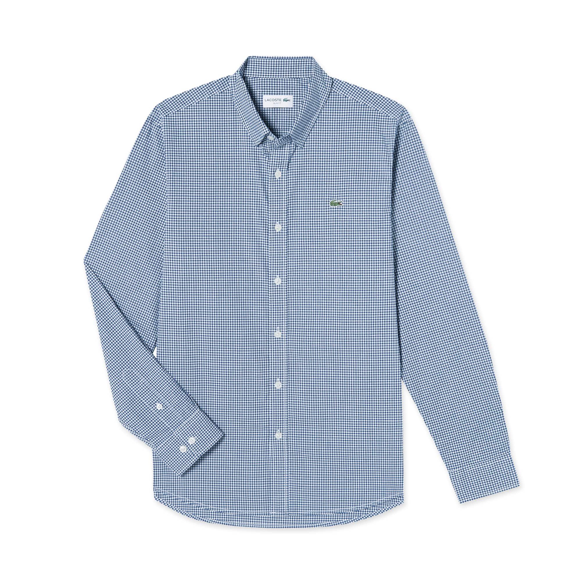(남성) 라코스테 스트레치 나노 깅엄 슬림 체크 셔츠