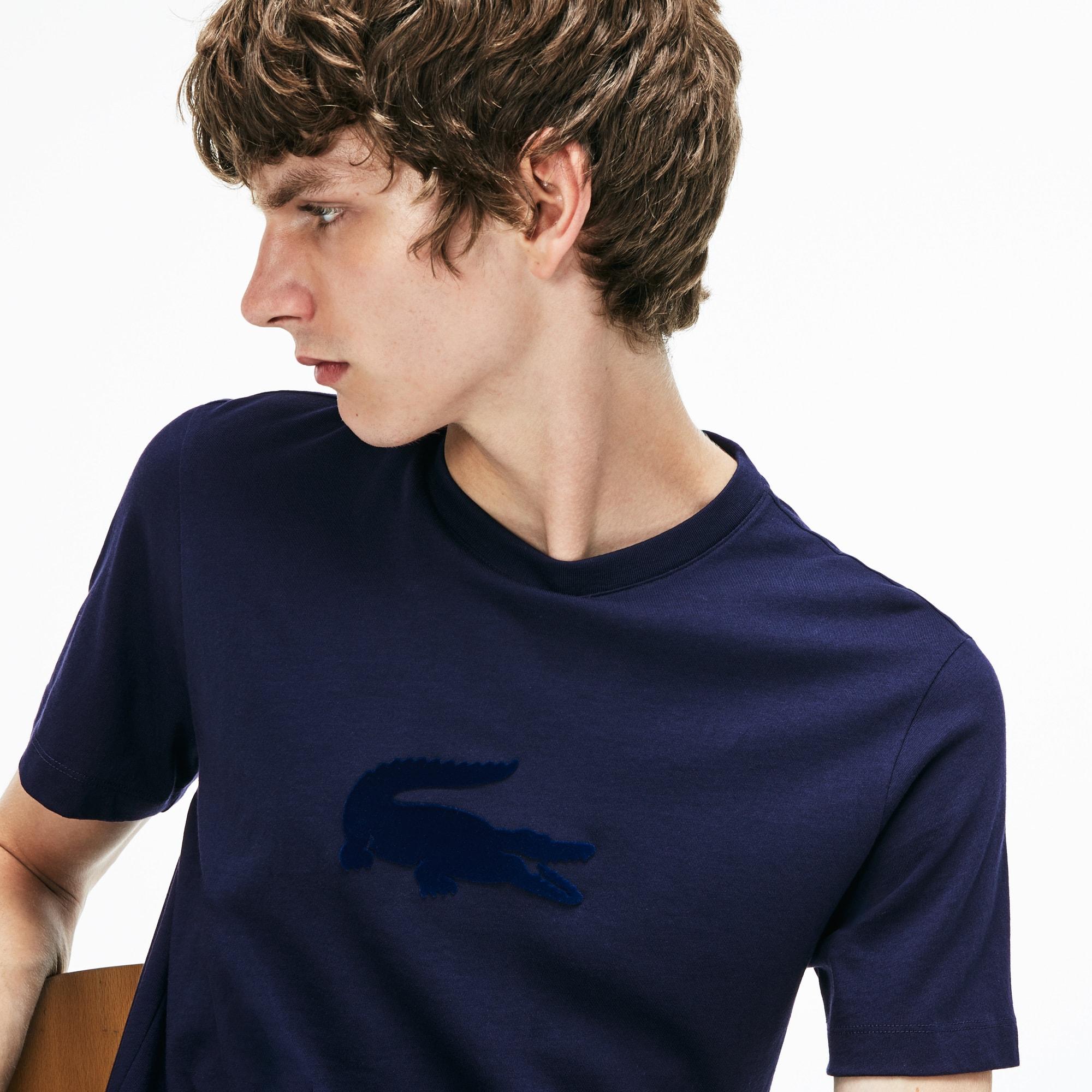 男式宽松圆领鳄鱼标平纹单面针织面料T恤