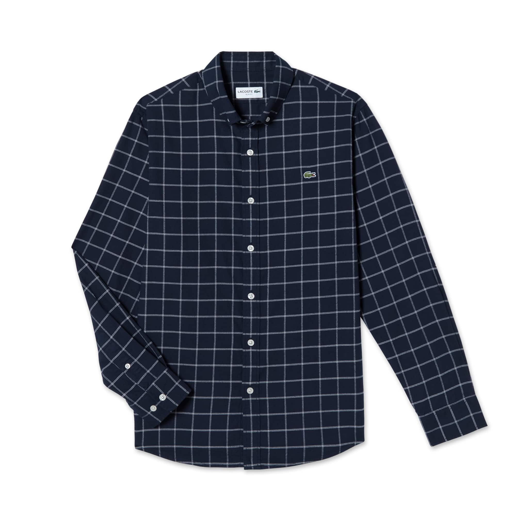 (남성) 라코스테 플란넬 그리드 체크 슬림 셔츠