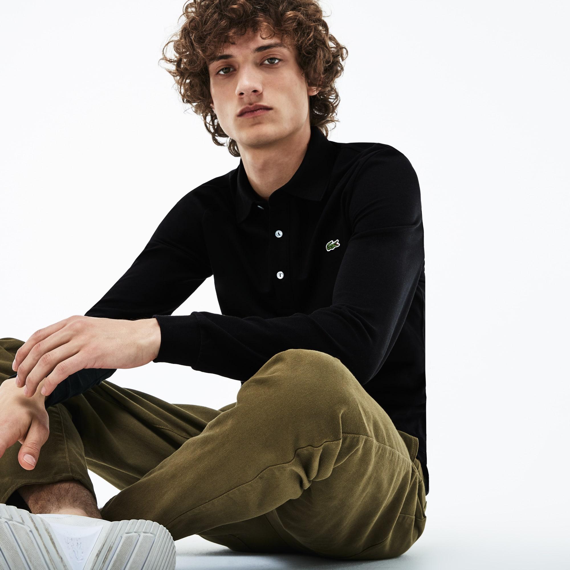 男士纯色长袖POLO衫