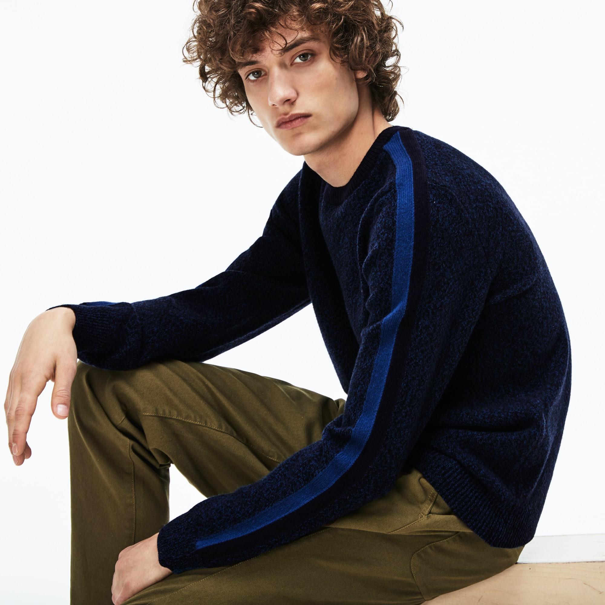 法国制造男士圆领撞色带平纹针织面料毛衣