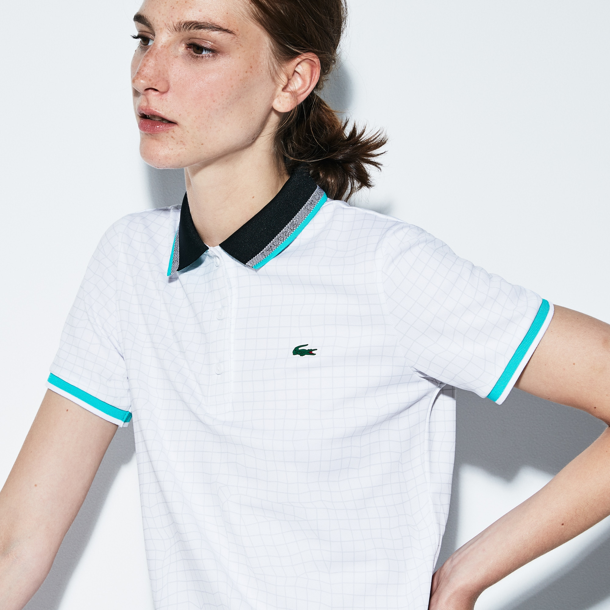 Lacoste SPORT女士网纹印花科技凸纹网眼面料网球polo衫