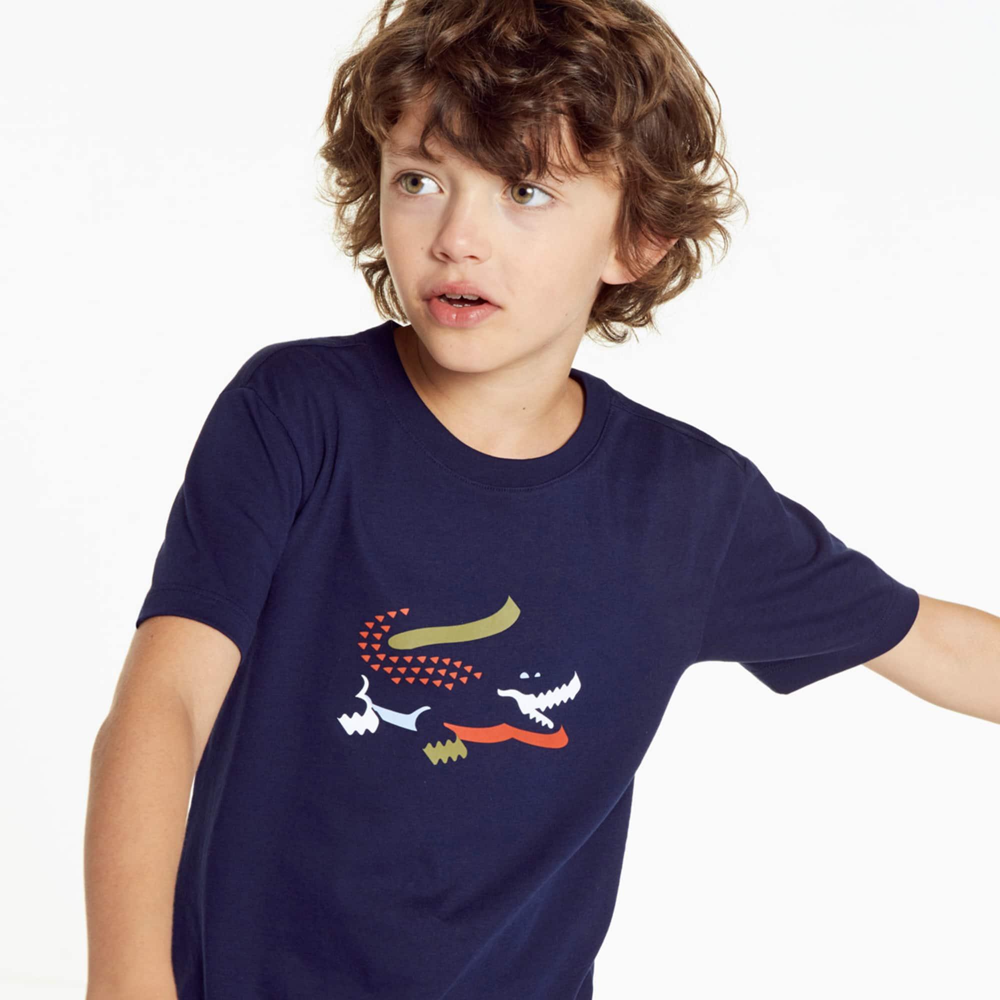 (키즈) 남아용 크록 프린팅 인디고 저지 크루넥 티셔츠