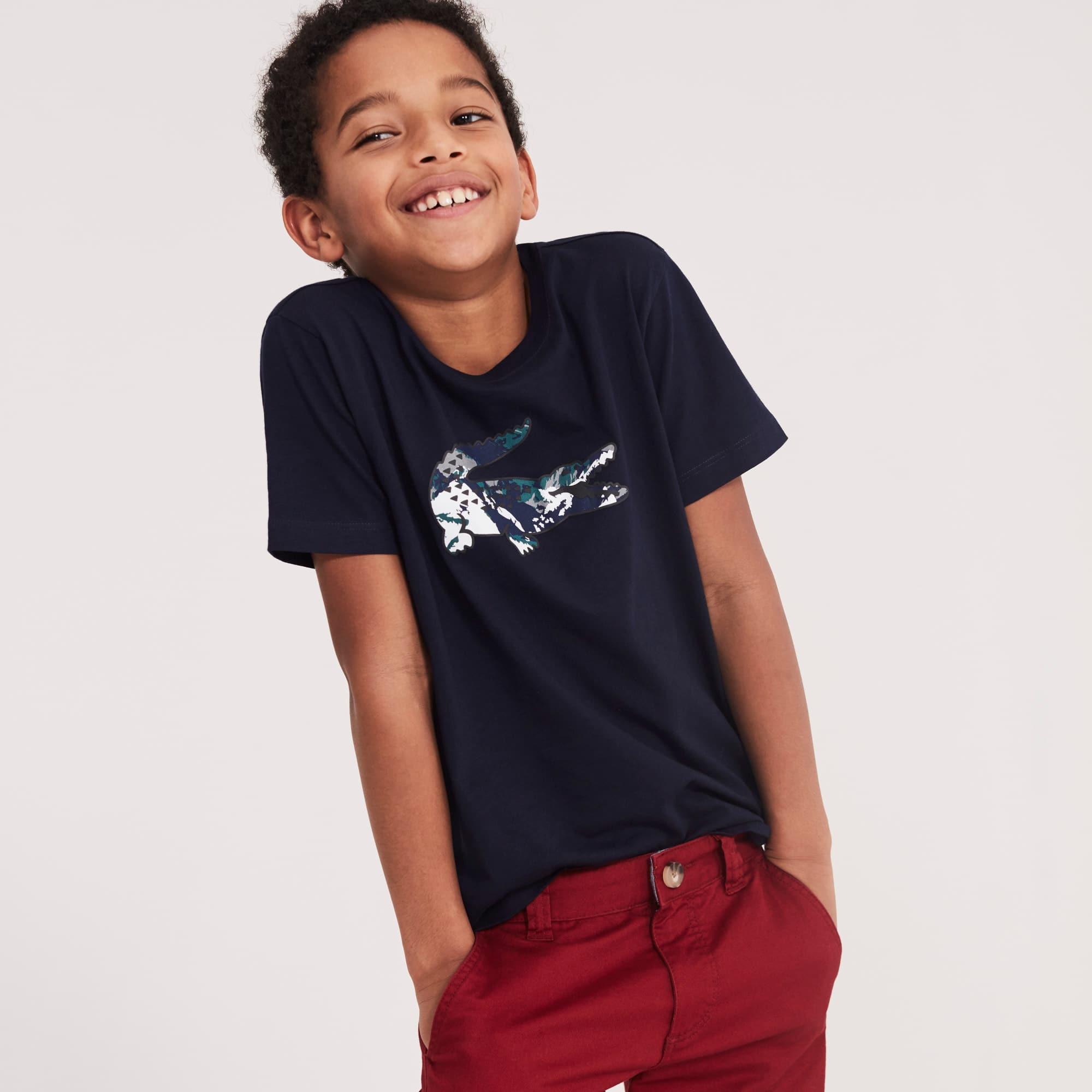 男生大型鳄鱼印花棉质平纹单面针织面料T恤