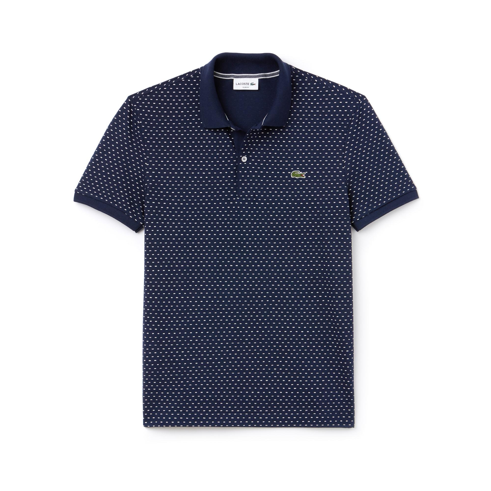 Lacoste男士修身版印花小凸纹网眼面料Polo衫