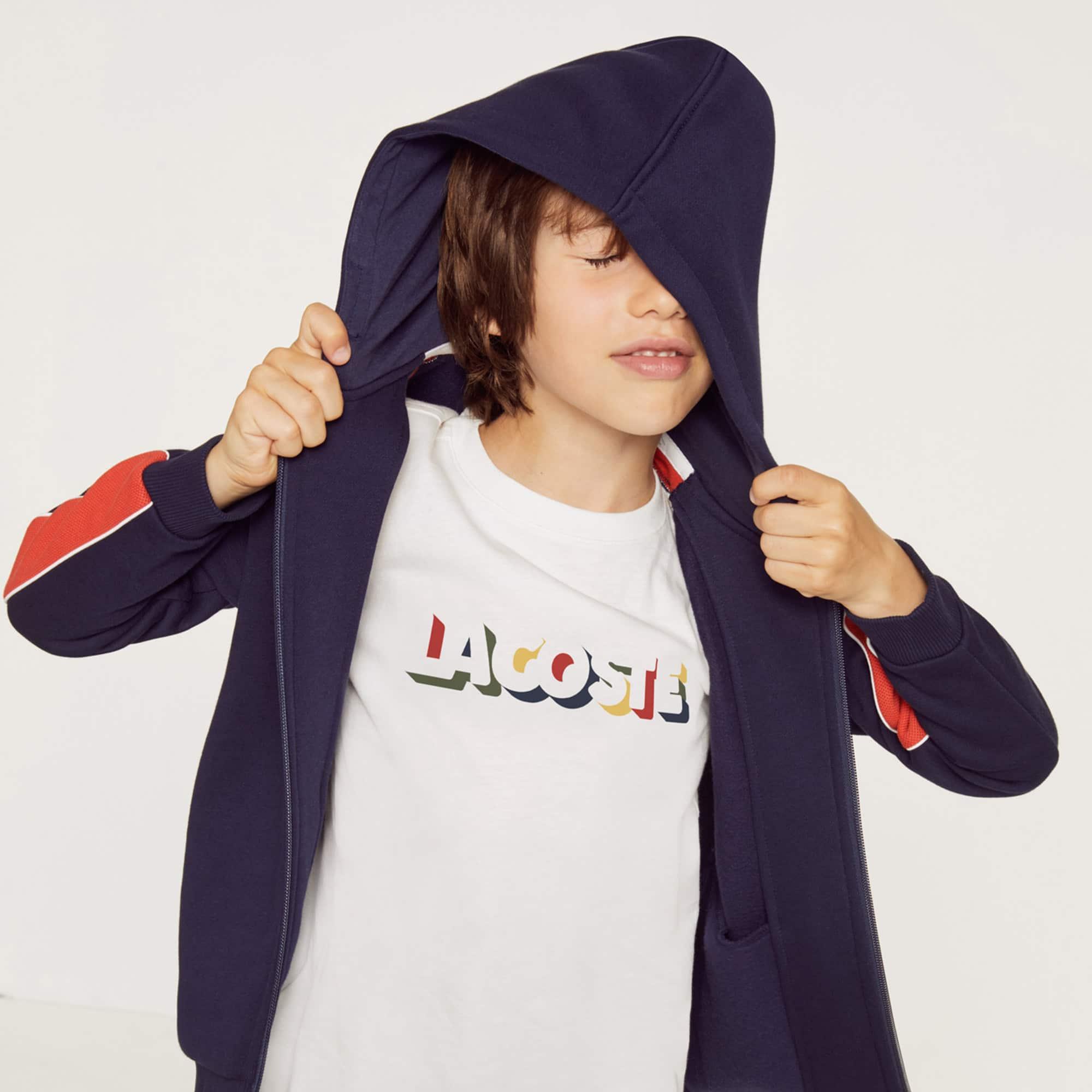 (키즈) 남아용 라코스테 레터링 크루넥 코튼 티셔츠