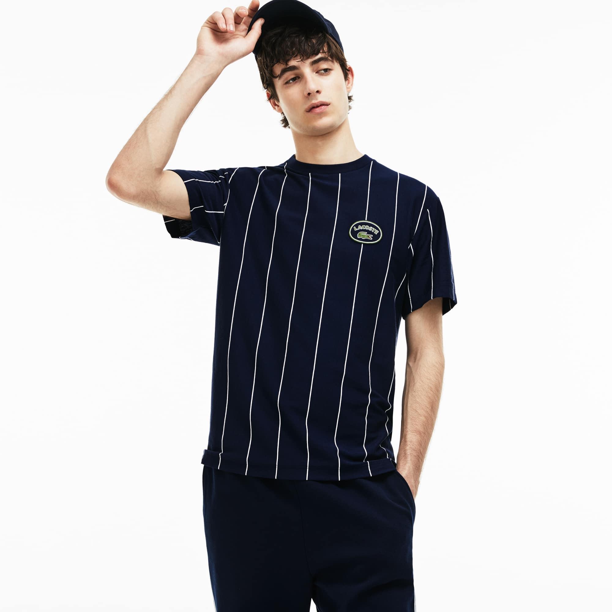 圆领竖条纹棉质平纹针织面料男士T恤