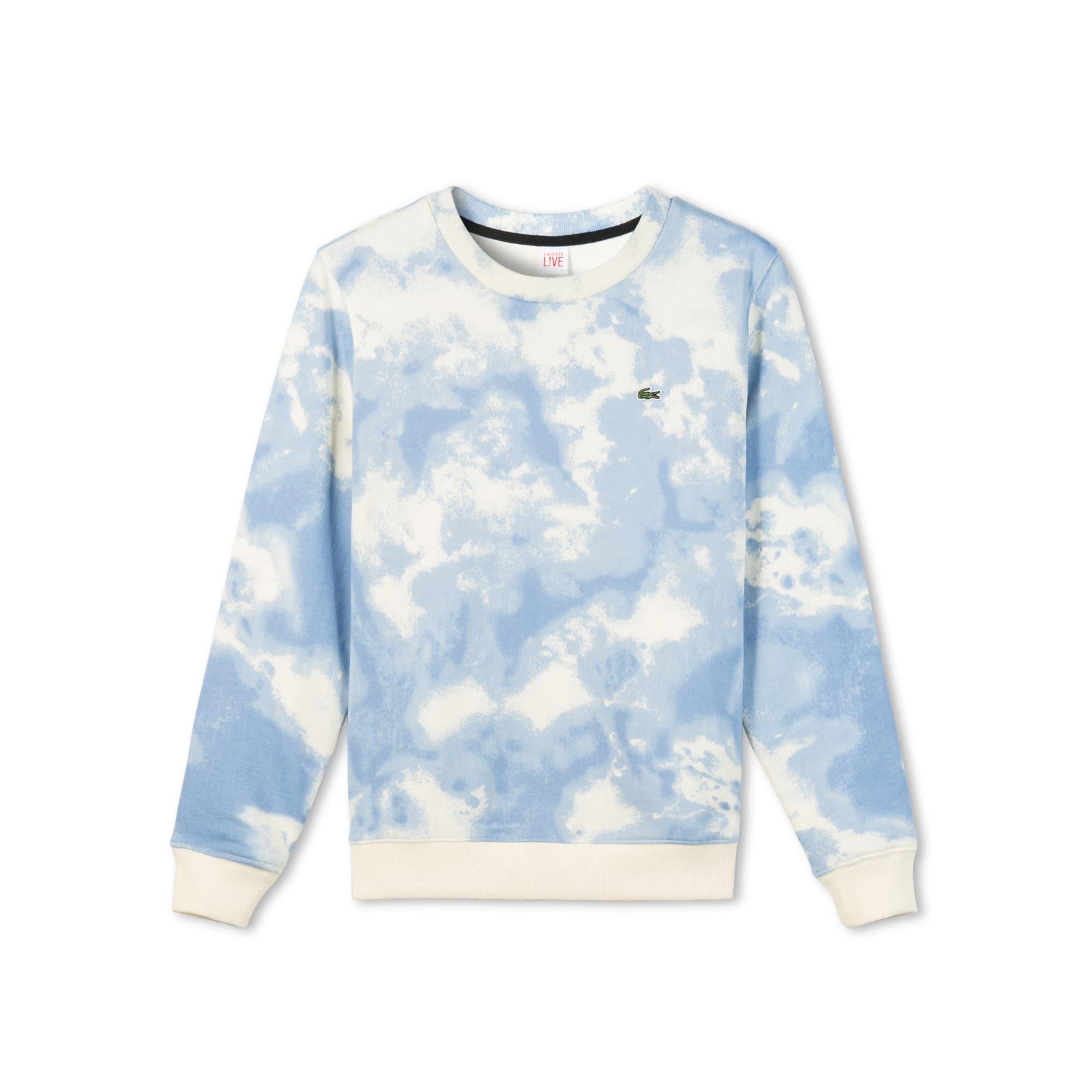 Lacoste LIVE系列女士圆领云朵印花拉绒运动衫