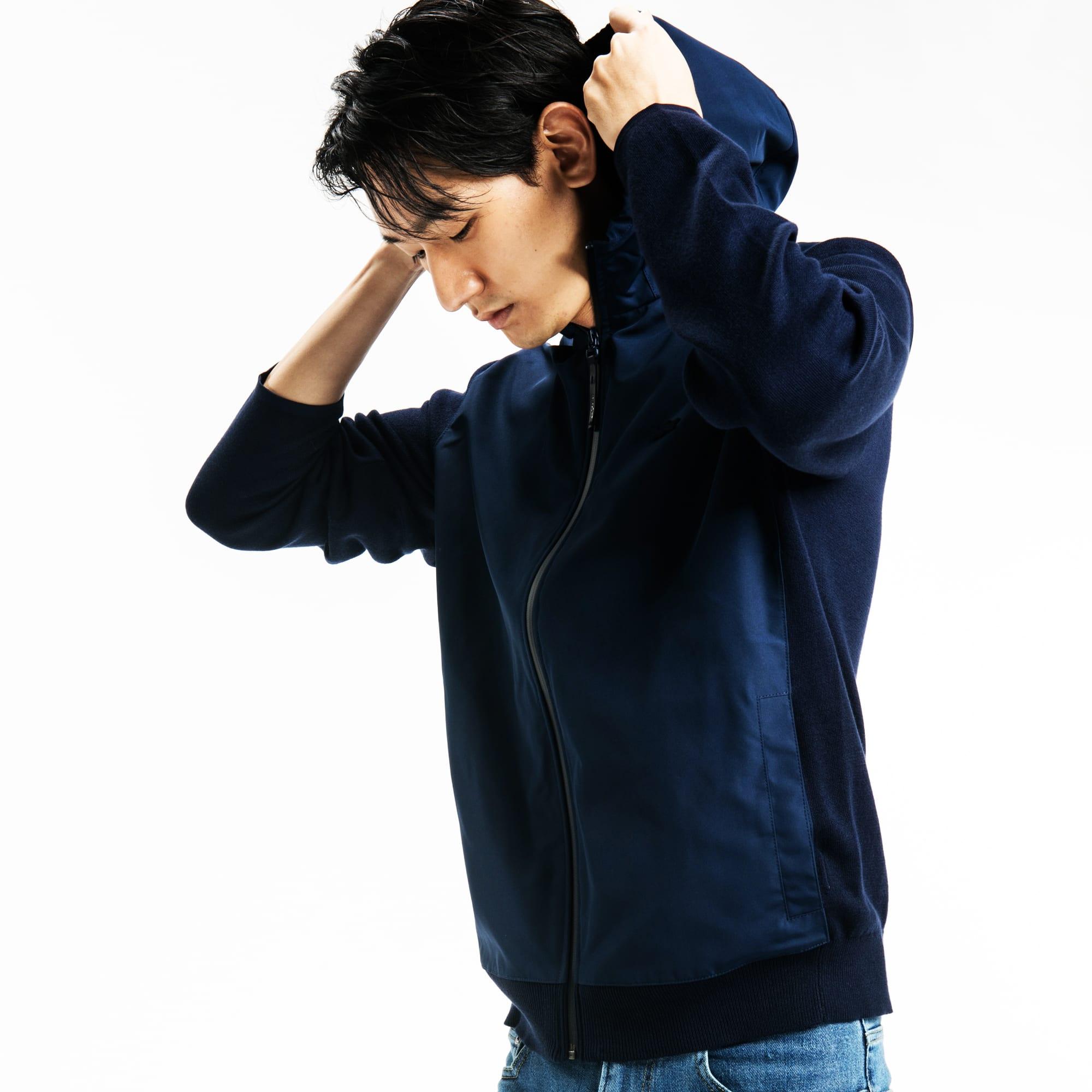 Lacoste Motion系列平纹针织面料男士连帽拉链毛衣
