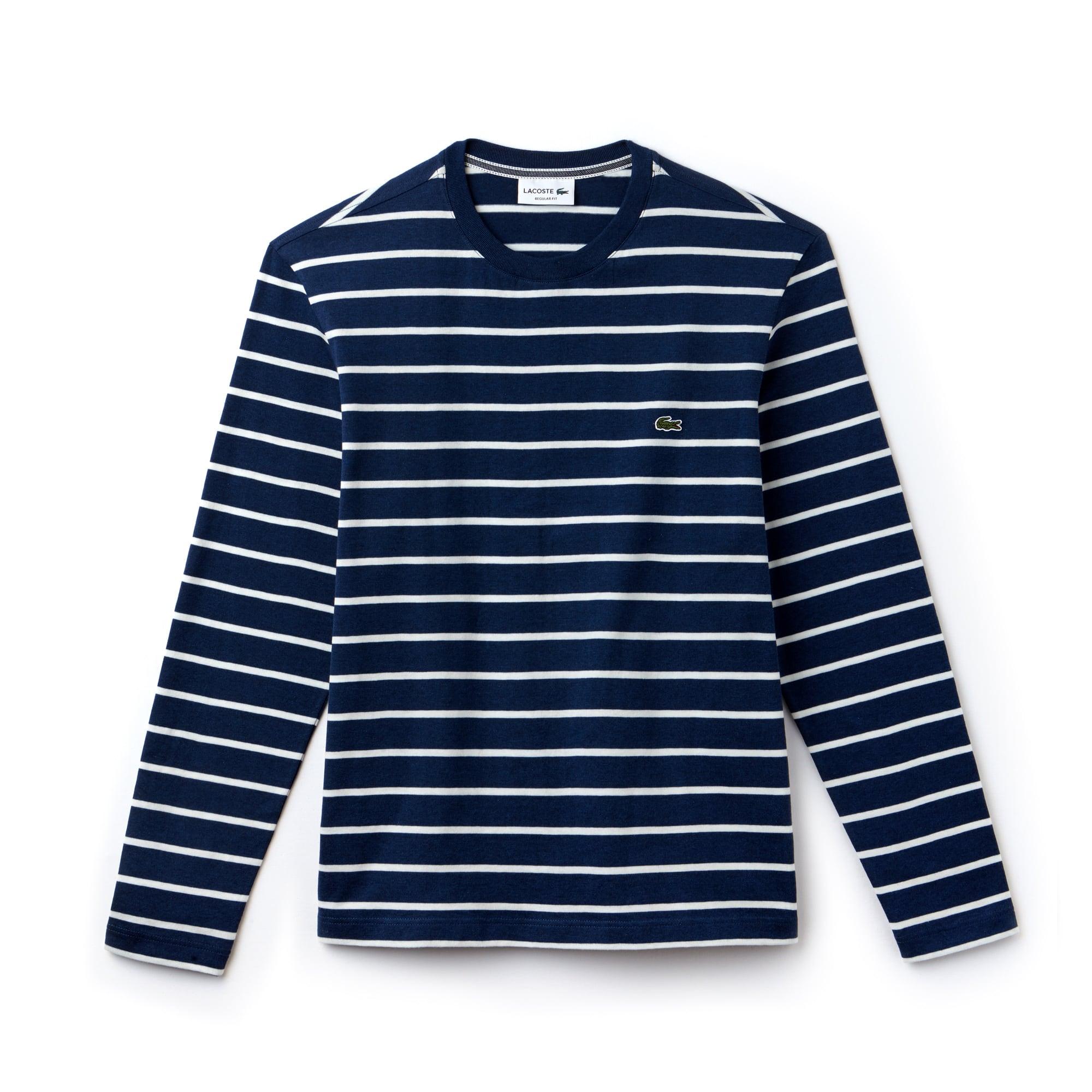 平纹针织面料男士圆领条纹T恤