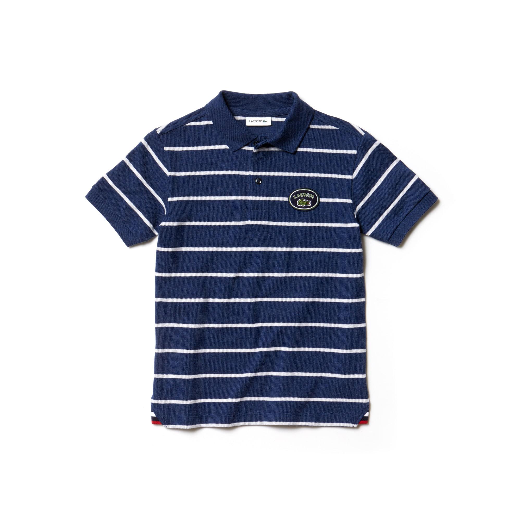 Lacoste条纹棉质凸纹网眼面料男童Polo衫
