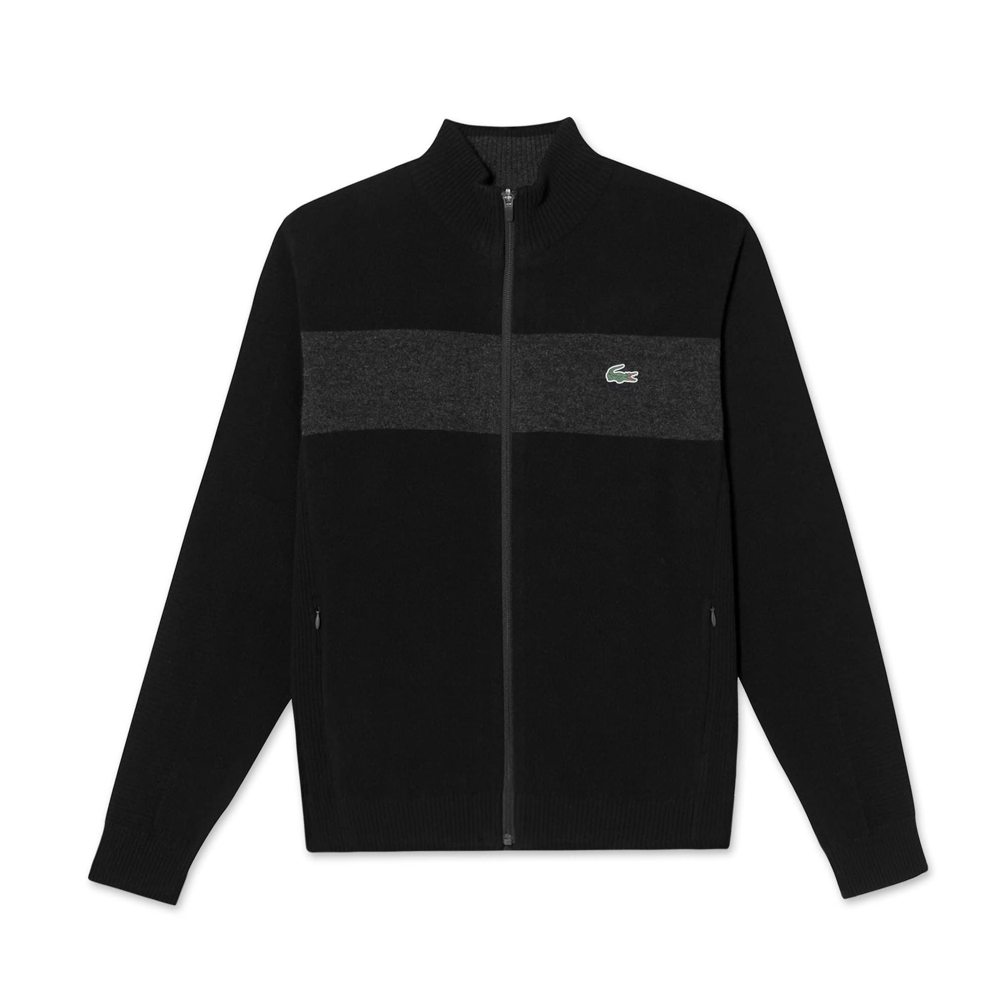(남성) 라코스테 컬러블럭 하이넥 집업 스웨터