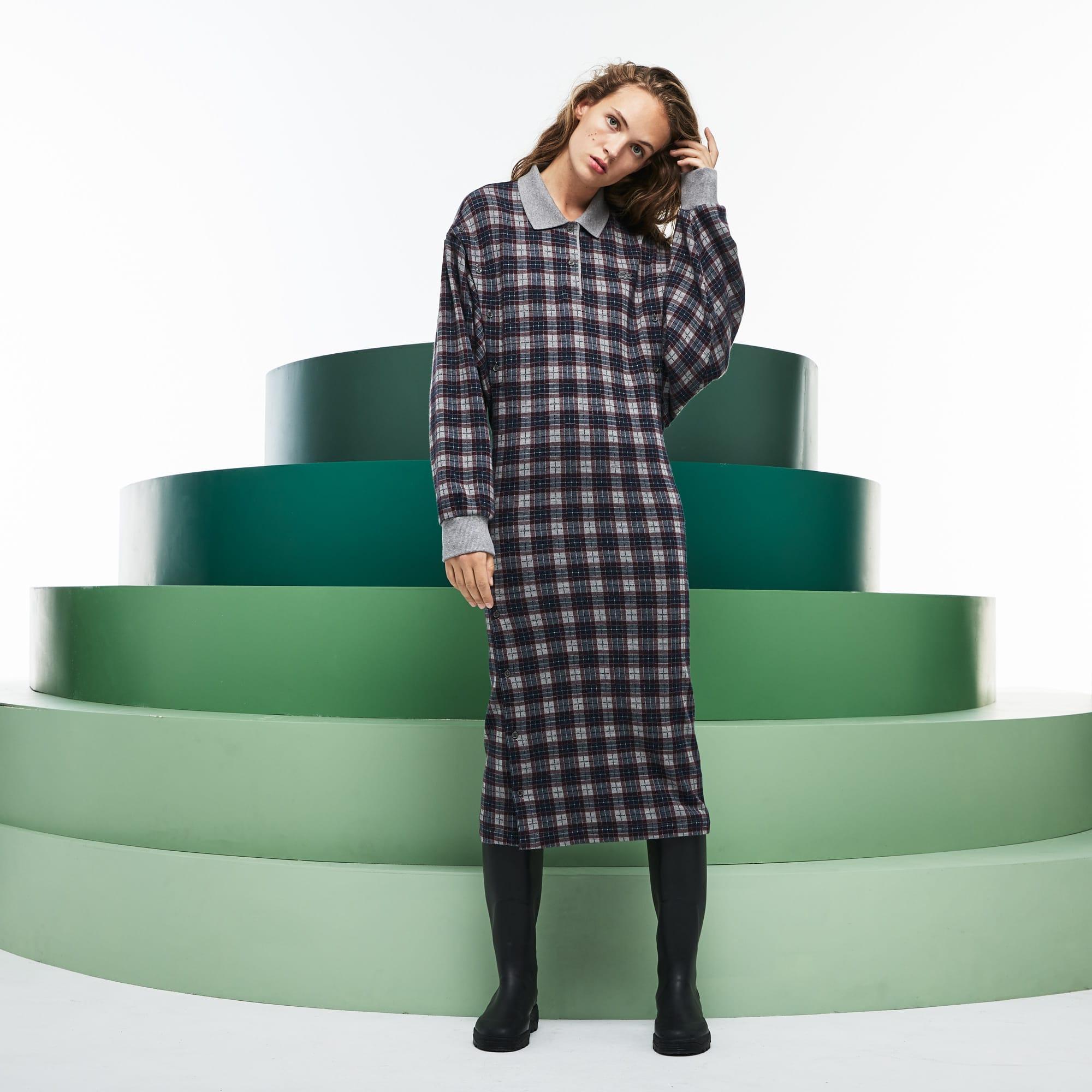 女士时尚衣袖可拆格纹羊毛连衣裙