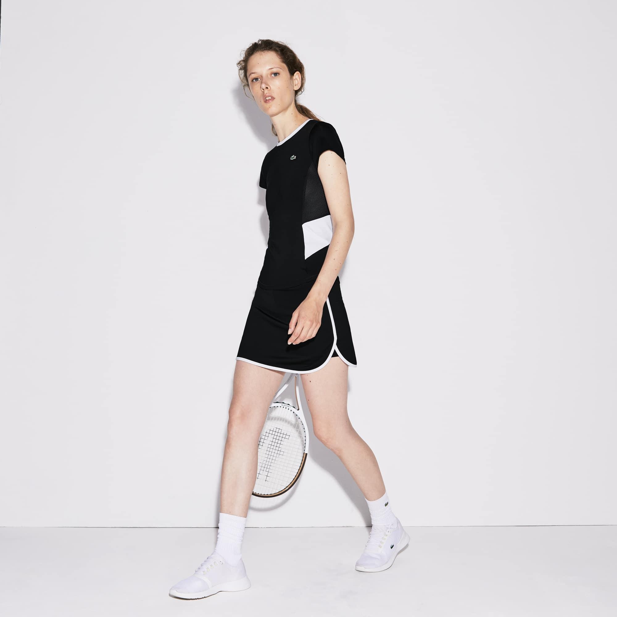 女士Lacoste SPORT撞色边平纹单面针织面料网球裙