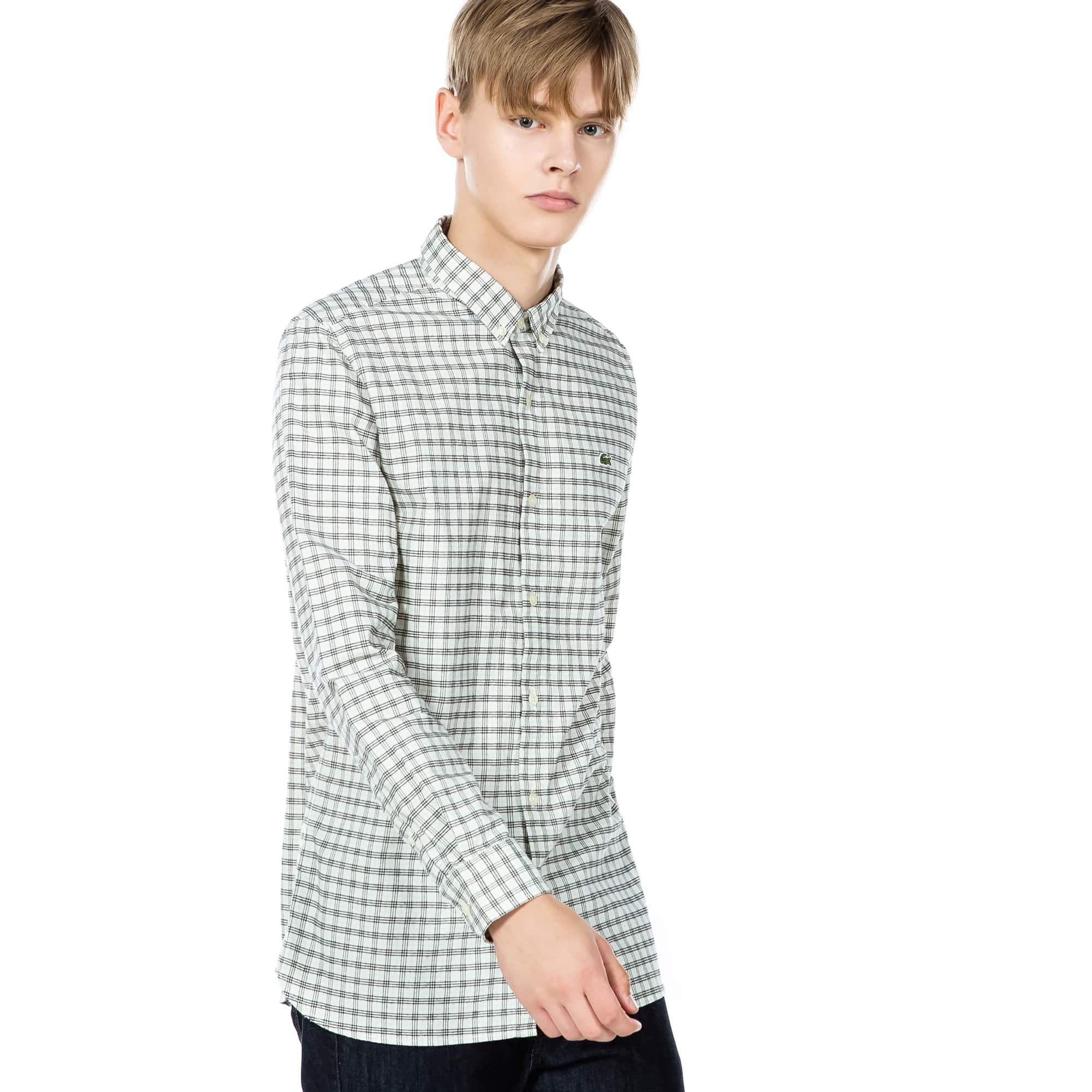 (남성) 라코스테 미니 체크 패턴 셔츠