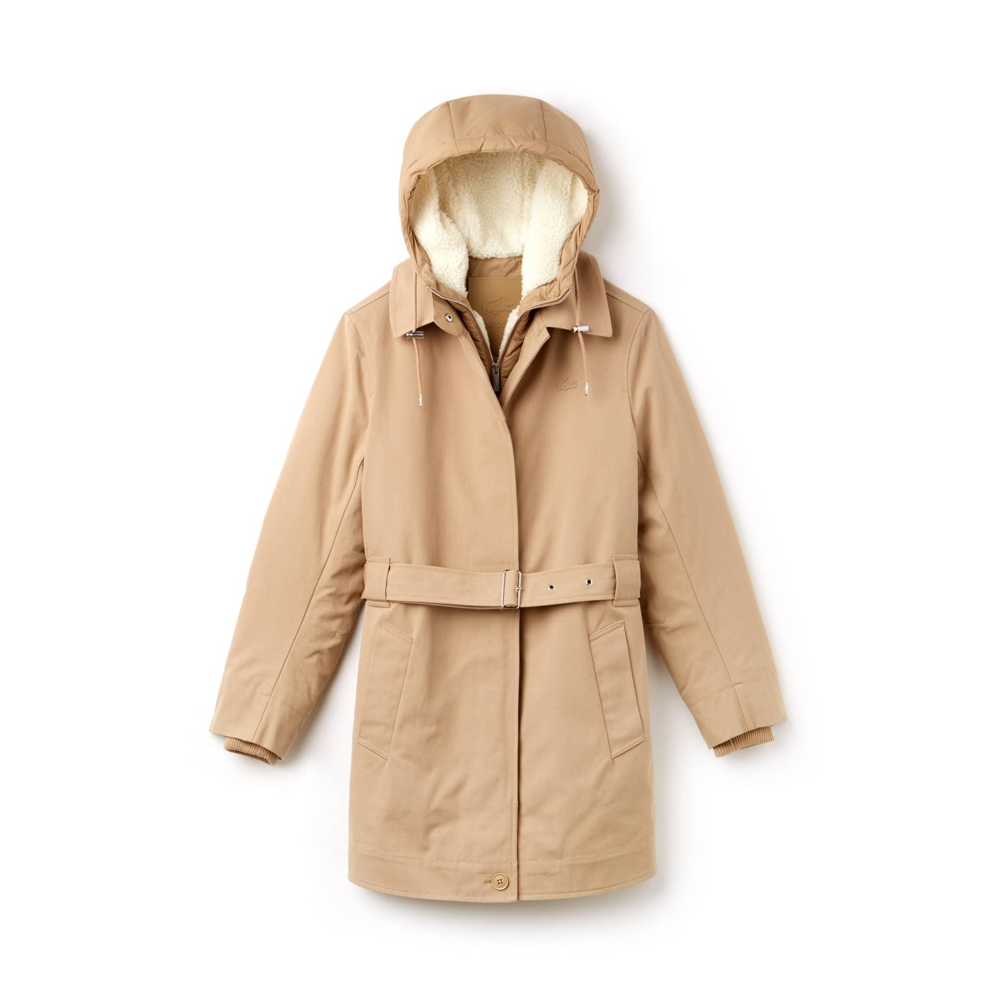 三合一夹克可拆卸式棉质帆布女士连帽派克大衣