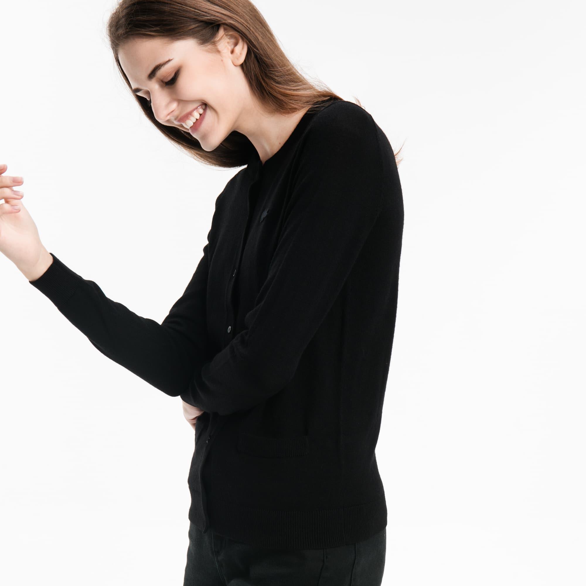女士圆领羊毛平纹针织面料开襟羊毛衫