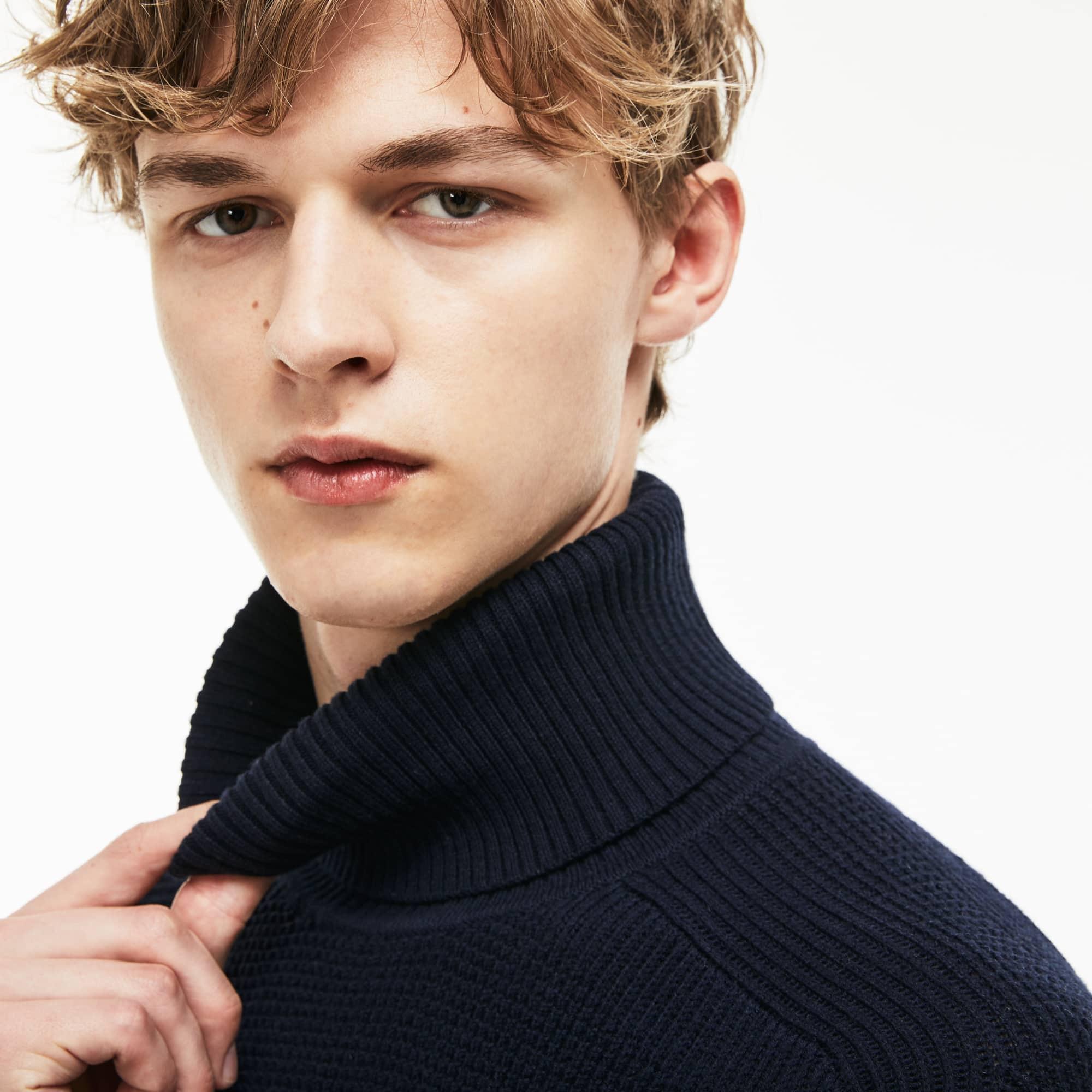 男士立领蜂窝纹羊毛棉毛衫
