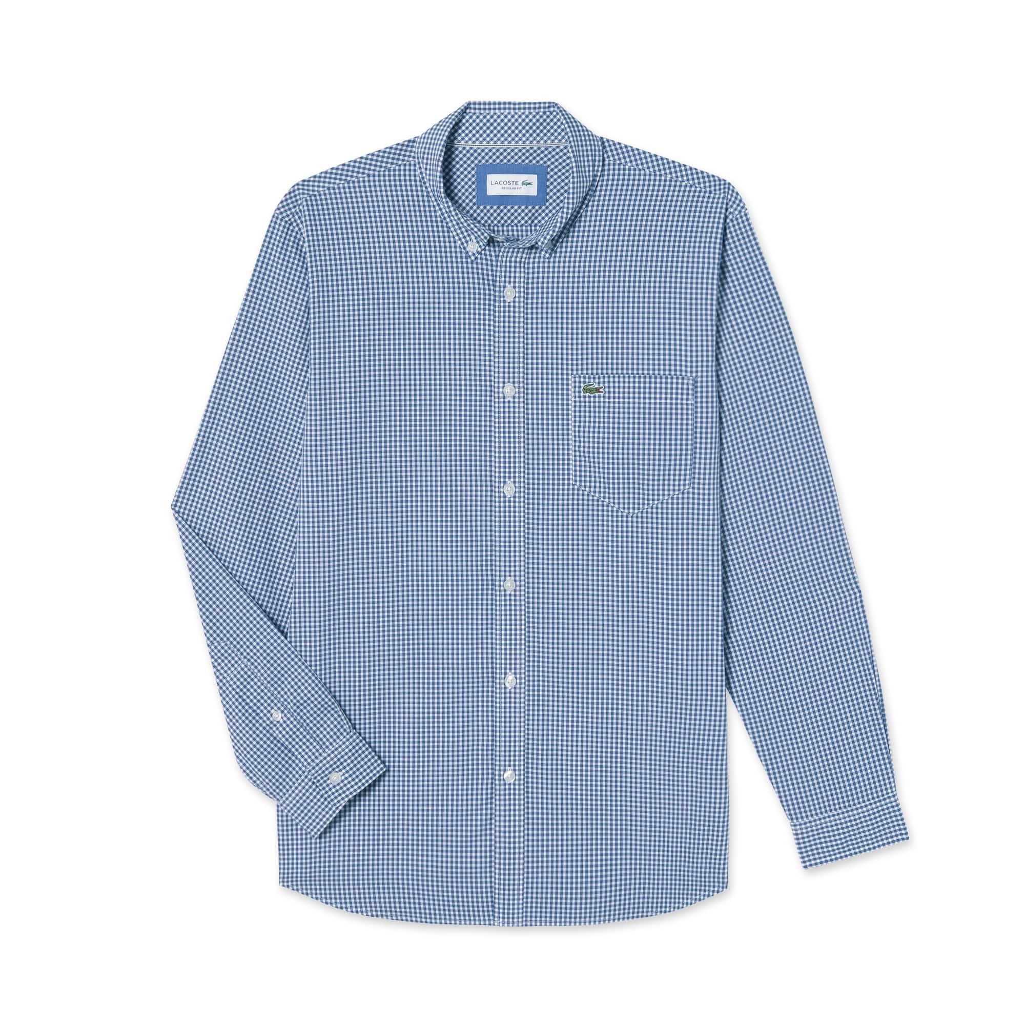 (남성) 라코스테 포플린 깅엄 레귤러 체크 셔츠